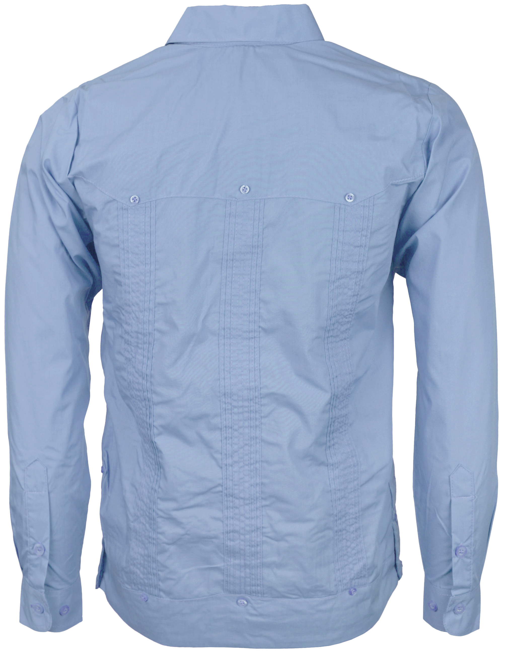 Men-039-s-Guayabera-Cuban-Beach-Long-Sleeve-Button-Up-Casual-Dress-Shirt-SLIM-FIT thumbnail 7