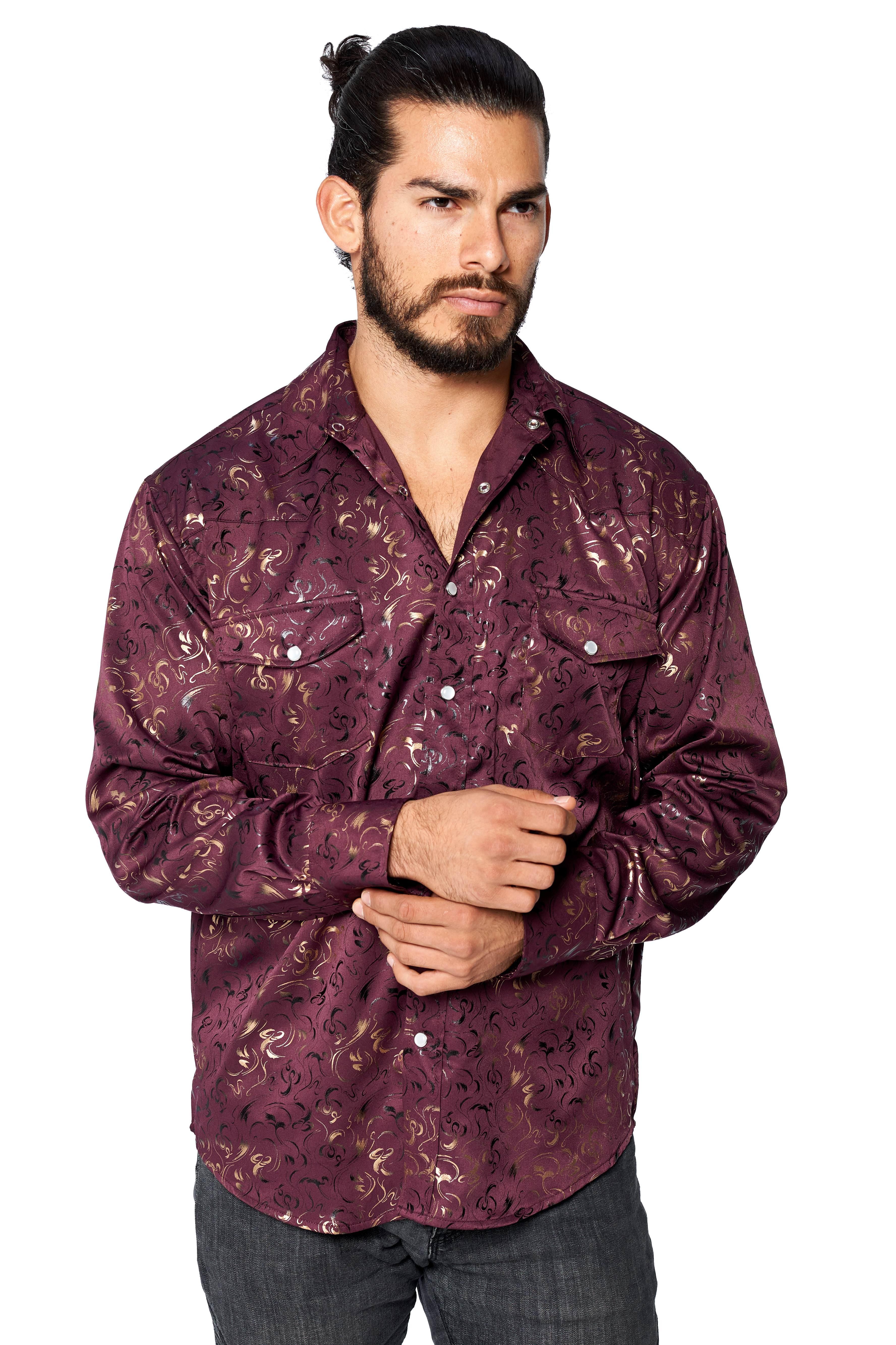 LW-Men-039-s-Pearl-Snap-Tribal-Stylish-Printed-Woven-Western-Vaquero-Rodeo-Shirt thumbnail 11