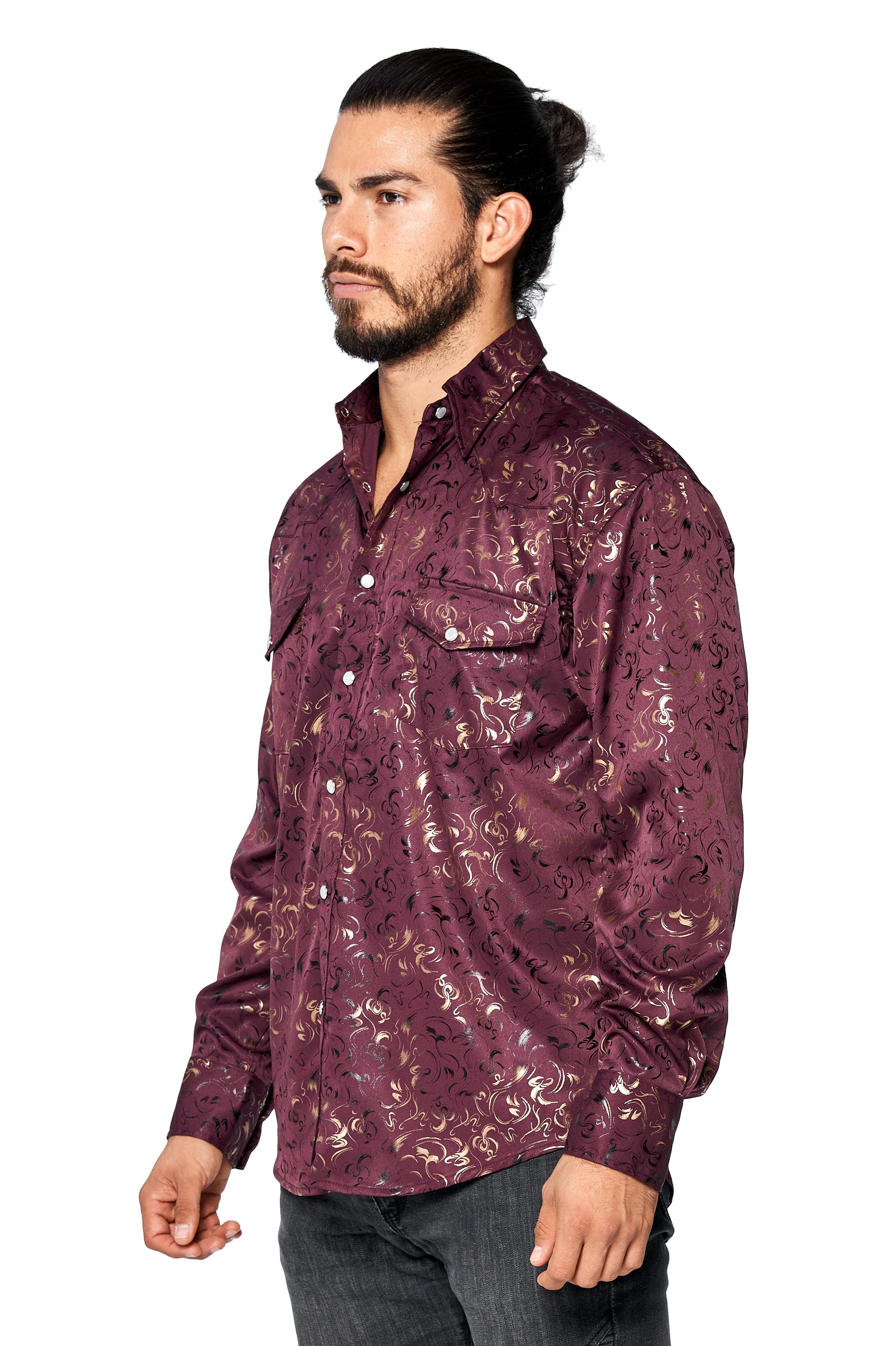 LW-Men-039-s-Pearl-Snap-Tribal-Stylish-Printed-Woven-Western-Vaquero-Rodeo-Shirt thumbnail 12