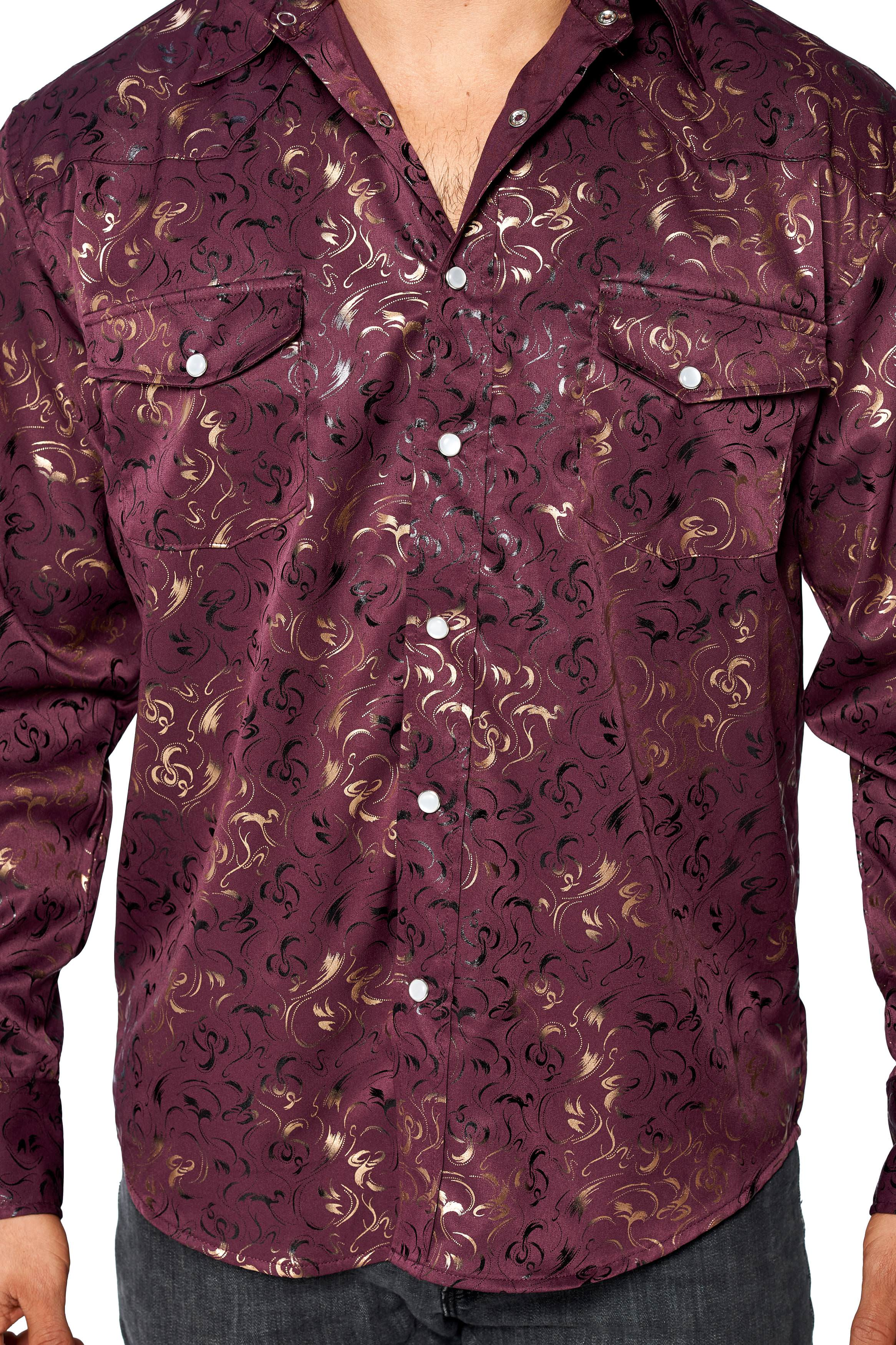 LW-Men-039-s-Pearl-Snap-Tribal-Stylish-Printed-Woven-Western-Vaquero-Rodeo-Shirt thumbnail 9