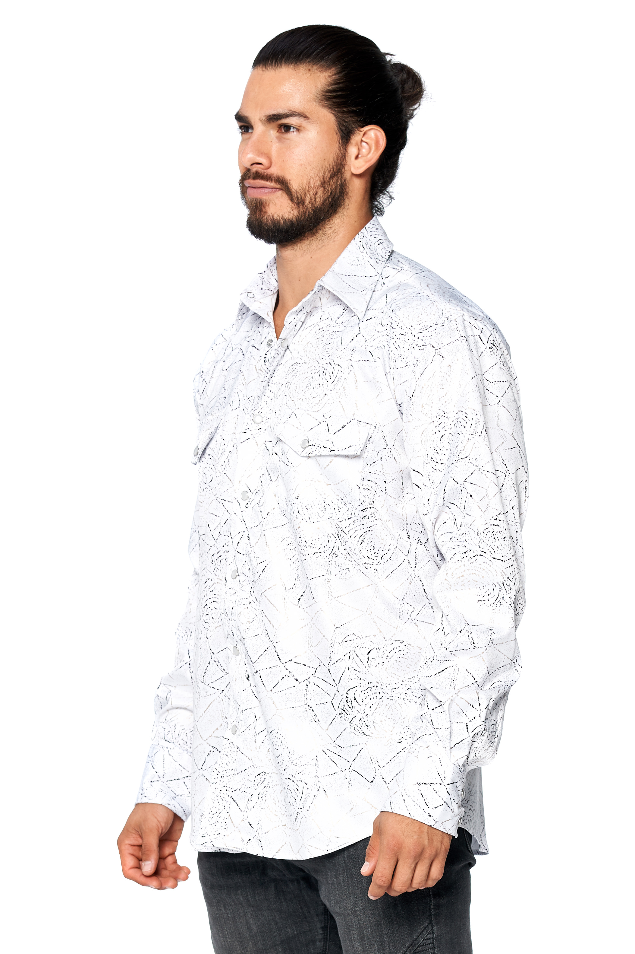 LW-Men-039-s-Pearl-Snap-Tribal-Stylish-Printed-Woven-Western-Vaquero-Rodeo-Shirt thumbnail 17