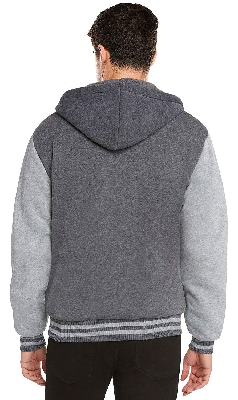 Men-039-s-Hooded-Sherpa-Fleece-Lined-Varsity-Zip-Up-Two-Tone-Hoodie-Jacket-2-TOON thumbnail 6