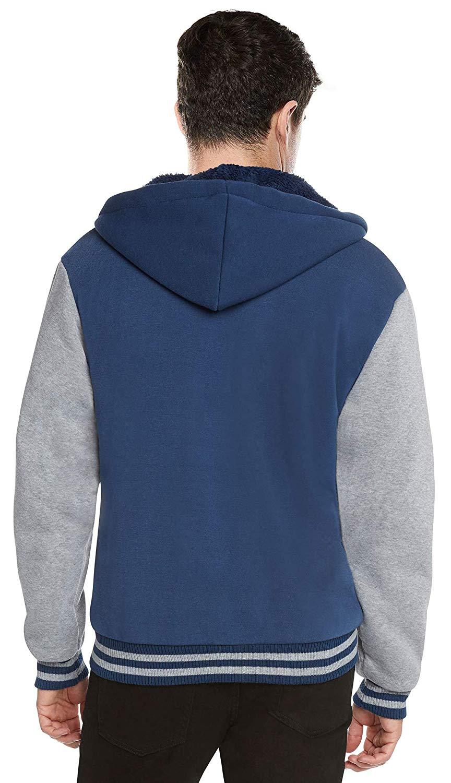 Men-039-s-Hooded-Sherpa-Fleece-Lined-Varsity-Zip-Up-Two-Tone-Hoodie-Jacket-2-TOON thumbnail 8