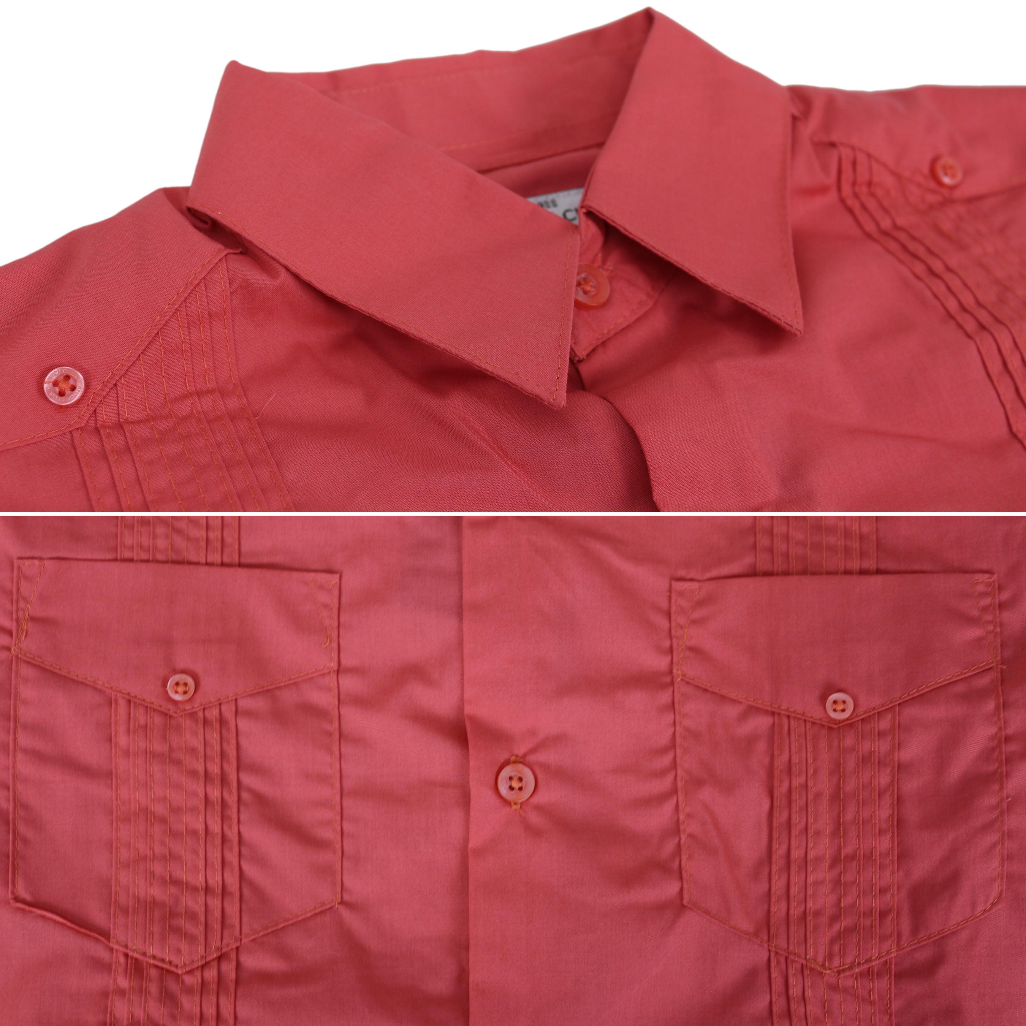 Men-039-s-Guayabera-Cuban-Beach-Long-Sleeve-Button-Up-Casual-Dress-Shirt-SLIM-FIT thumbnail 17