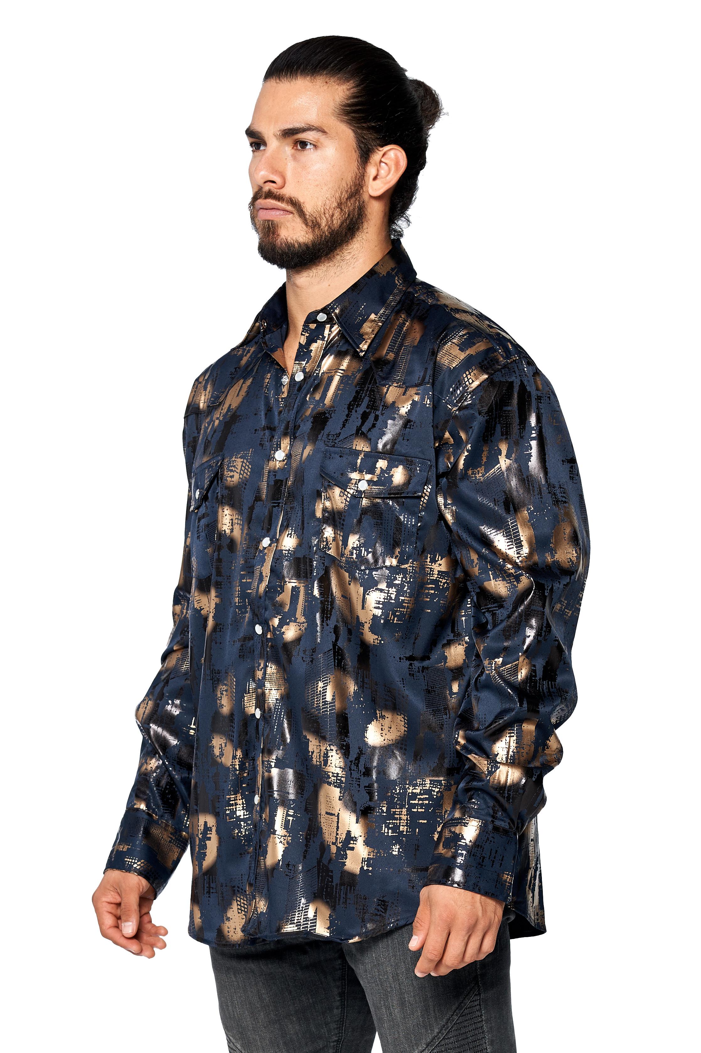 LW-Men-039-s-Pearl-Snap-Tribal-Stylish-Printed-Woven-Western-Vaquero-Rodeo-Shirt thumbnail 27