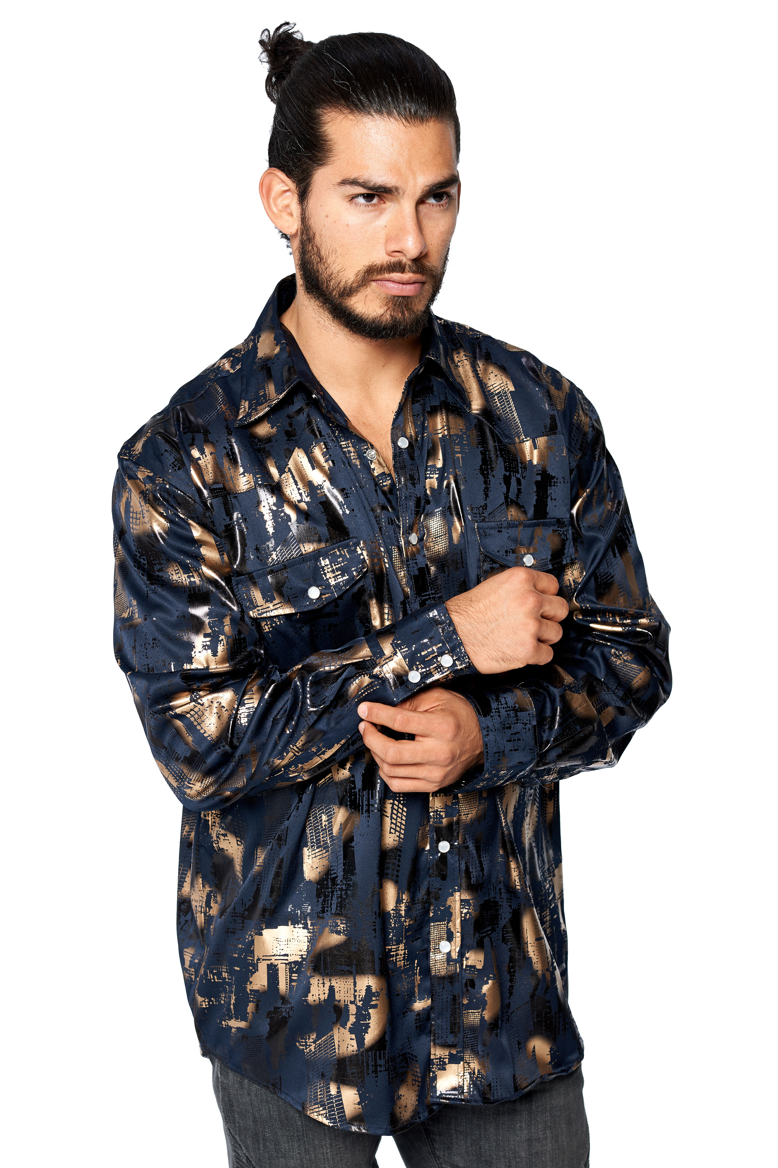 LW-Men-039-s-Pearl-Snap-Tribal-Stylish-Printed-Woven-Western-Vaquero-Rodeo-Shirt thumbnail 26