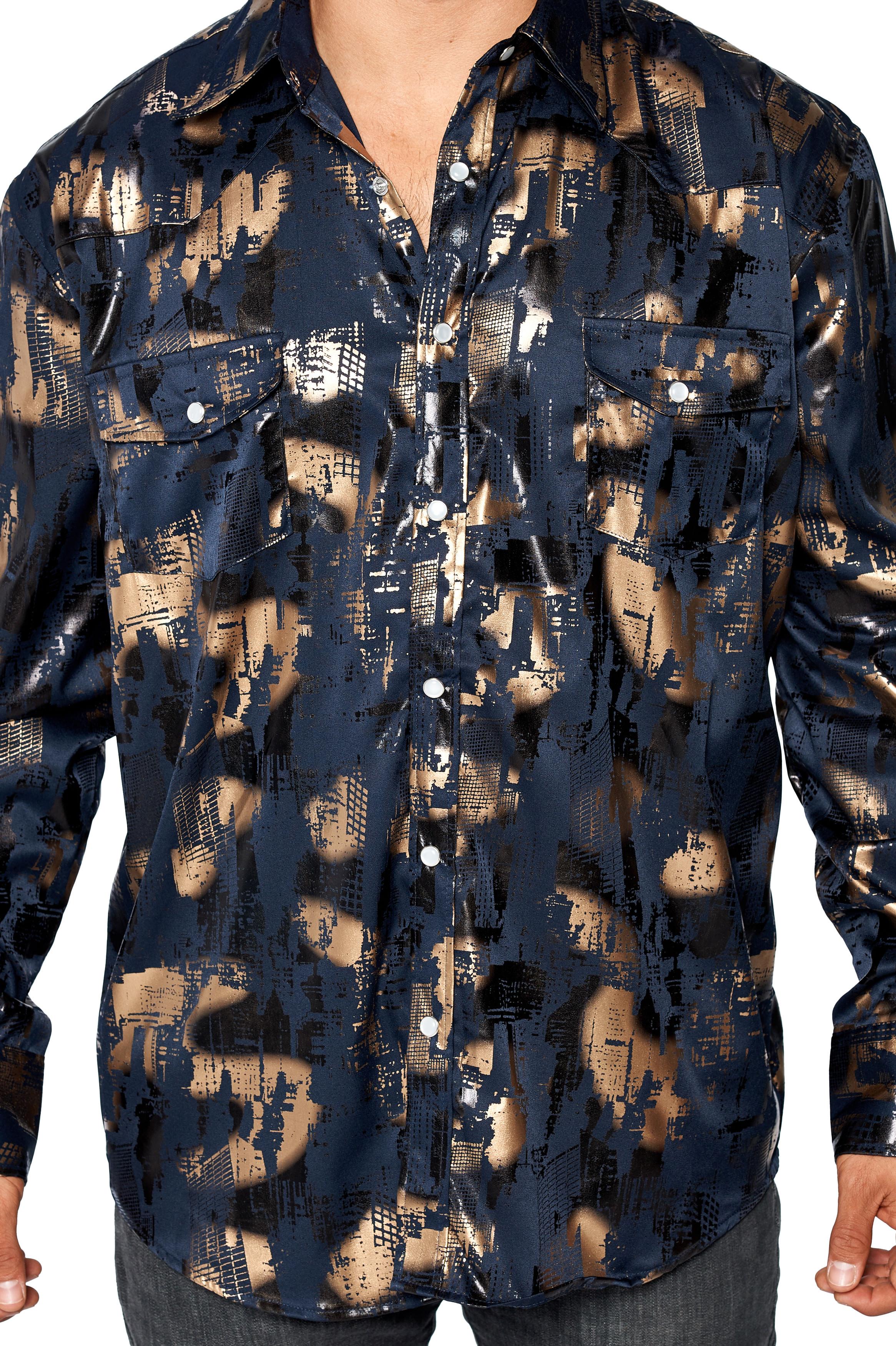 LW-Men-039-s-Pearl-Snap-Tribal-Stylish-Printed-Woven-Western-Vaquero-Rodeo-Shirt thumbnail 24