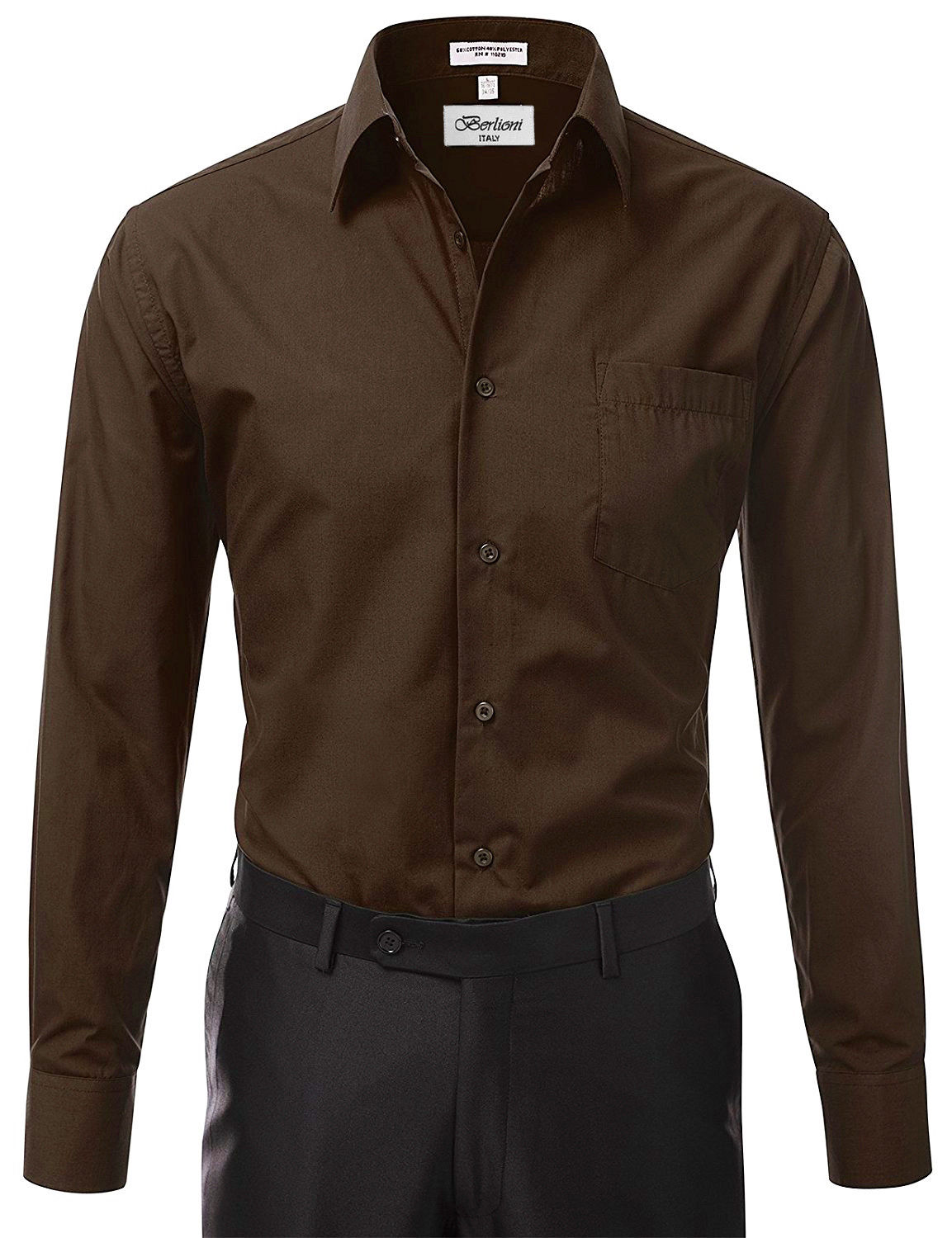 Berlioni-Italy-Men-039-s-Premium-Classic-French-Convertible-Cuff-Solid-Dress-Shirt thumbnail 52