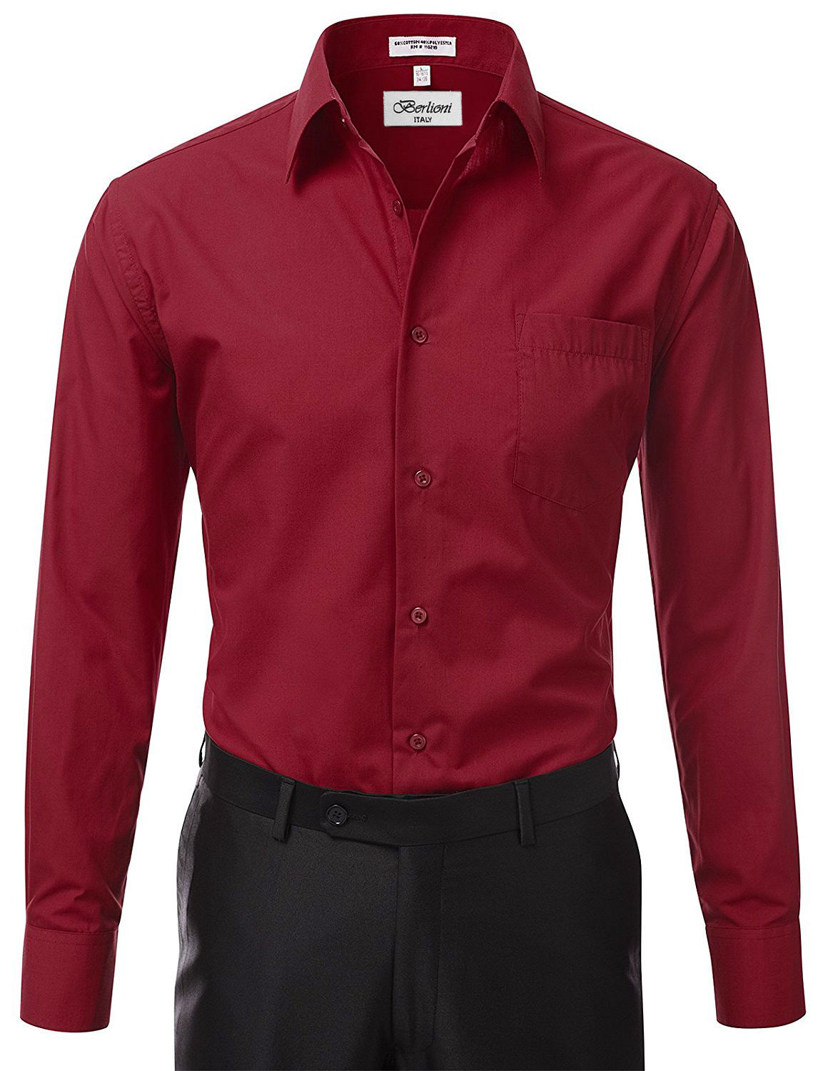 Berlioni-Italy-Men-039-s-Premium-Classic-French-Convertible-Cuff-Solid-Dress-Shirt thumbnail 56