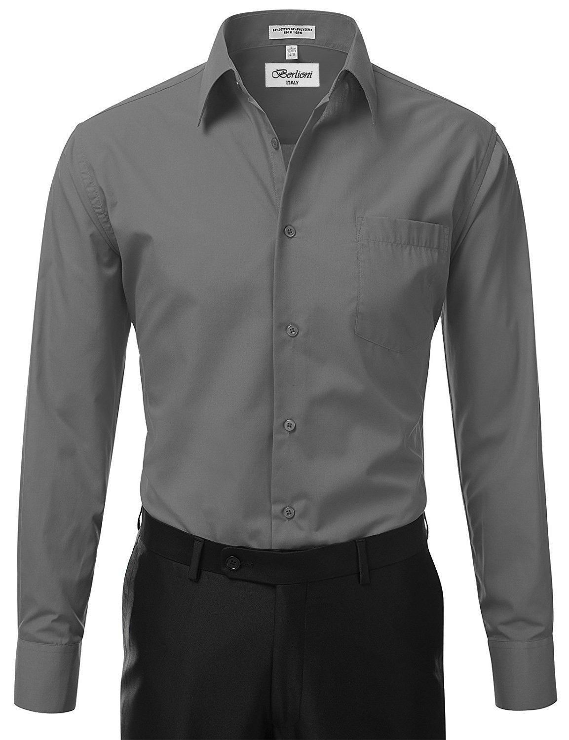 Berlioni-Italy-Men-039-s-Premium-Classic-French-Convertible-Cuff-Solid-Dress-Shirt thumbnail 24