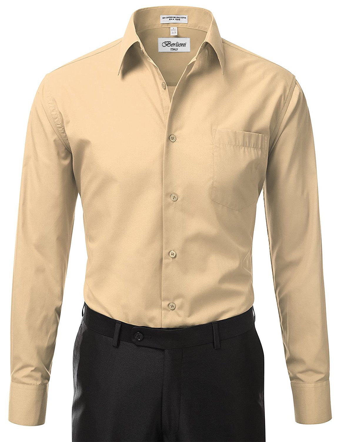 Berlioni-Italy-Men-039-s-Premium-Classic-French-Convertible-Cuff-Solid-Dress-Shirt thumbnail 32