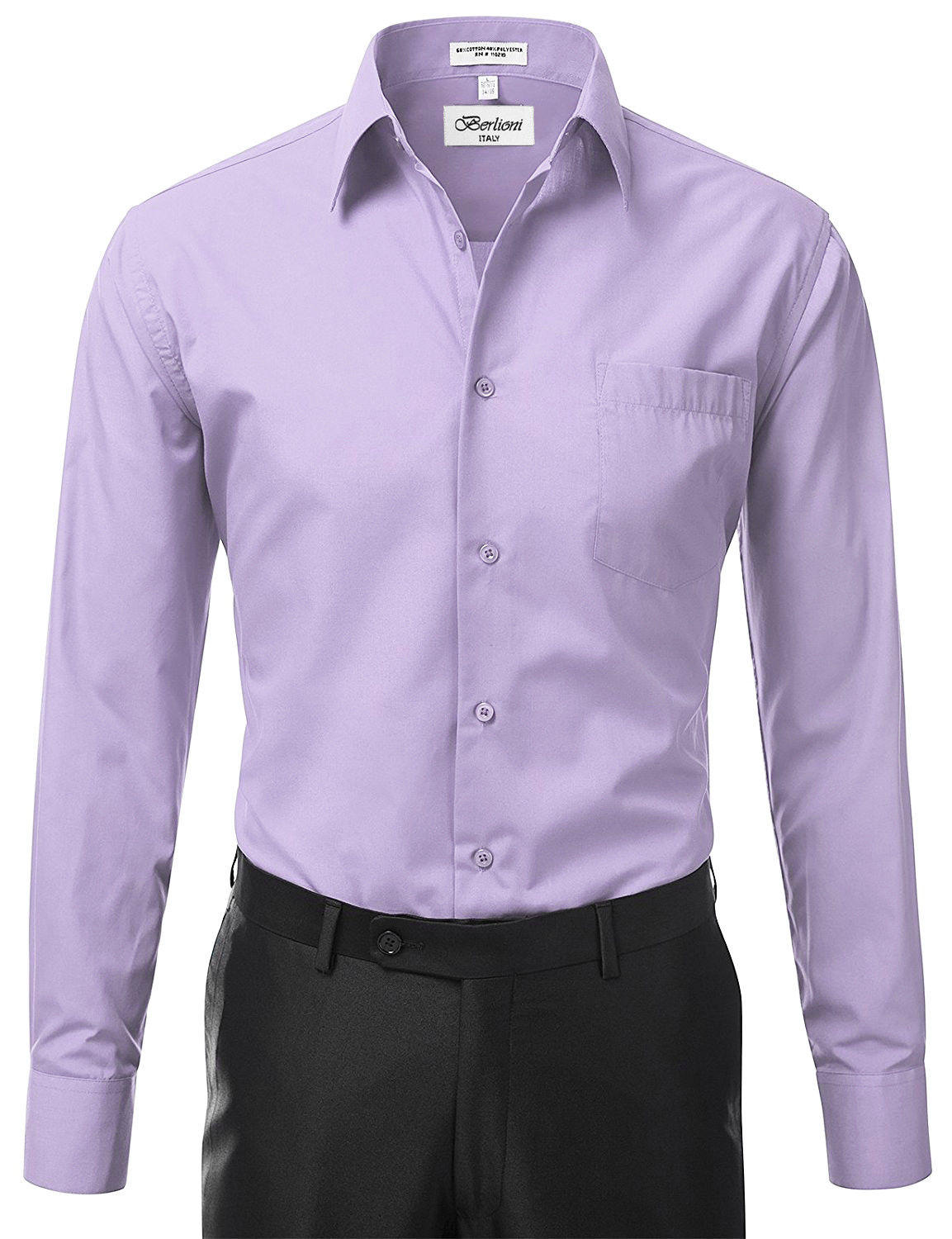 Berlioni-Italy-Men-039-s-Premium-Classic-French-Convertible-Cuff-Solid-Dress-Shirt thumbnail 60