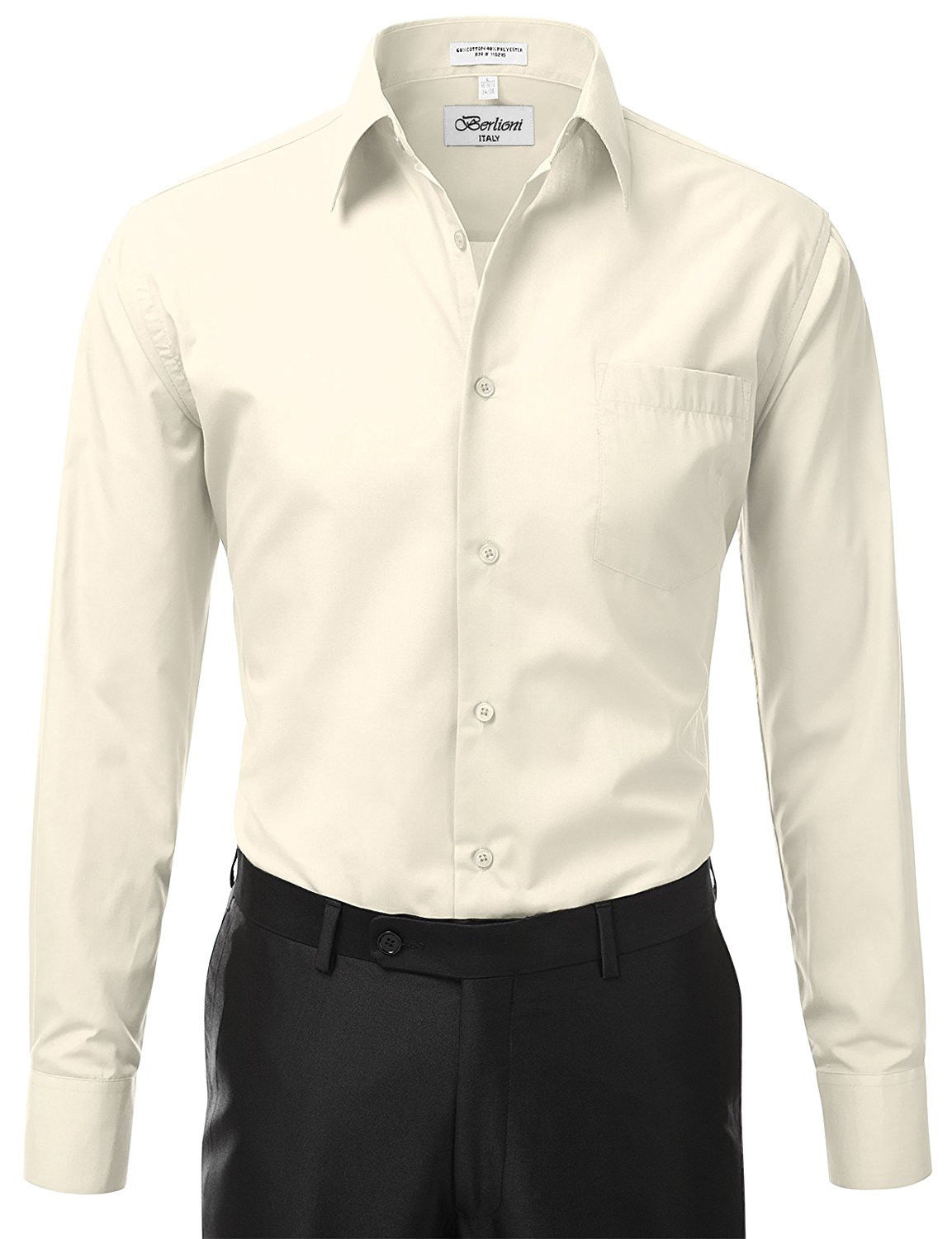 Berlioni-Italy-Men-039-s-Premium-Classic-French-Convertible-Cuff-Solid-Dress-Shirt thumbnail 40