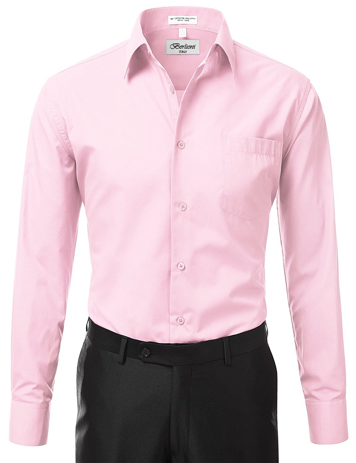 Berlioni-Italy-Men-039-s-Premium-Classic-French-Convertible-Cuff-Solid-Dress-Shirt thumbnail 12