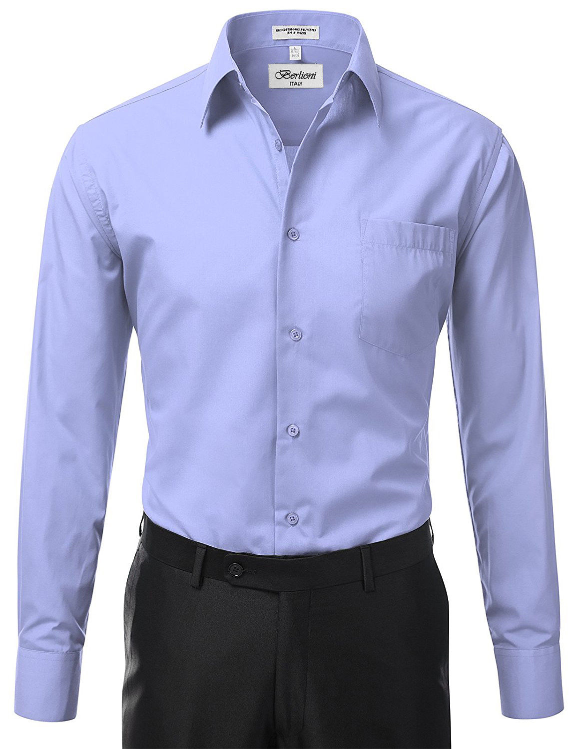 Berlioni-Italy-Men-039-s-Premium-Classic-French-Convertible-Cuff-Solid-Dress-Shirt thumbnail 16