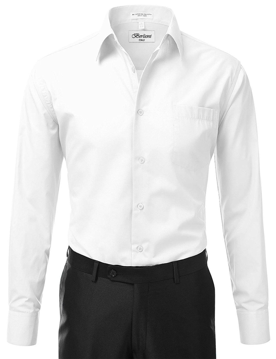 Berlioni-Italy-Men-039-s-Premium-Classic-French-Convertible-Cuff-Solid-Dress-Shirt thumbnail 68
