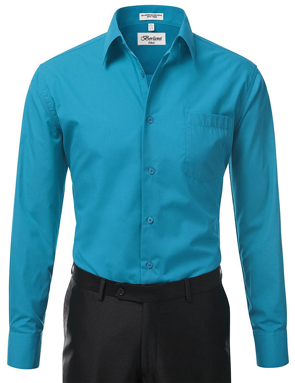 Berlioni-Italy-Men-039-s-Premium-Classic-French-Convertible-Cuff-Solid-Dress-Shirt thumbnail 36