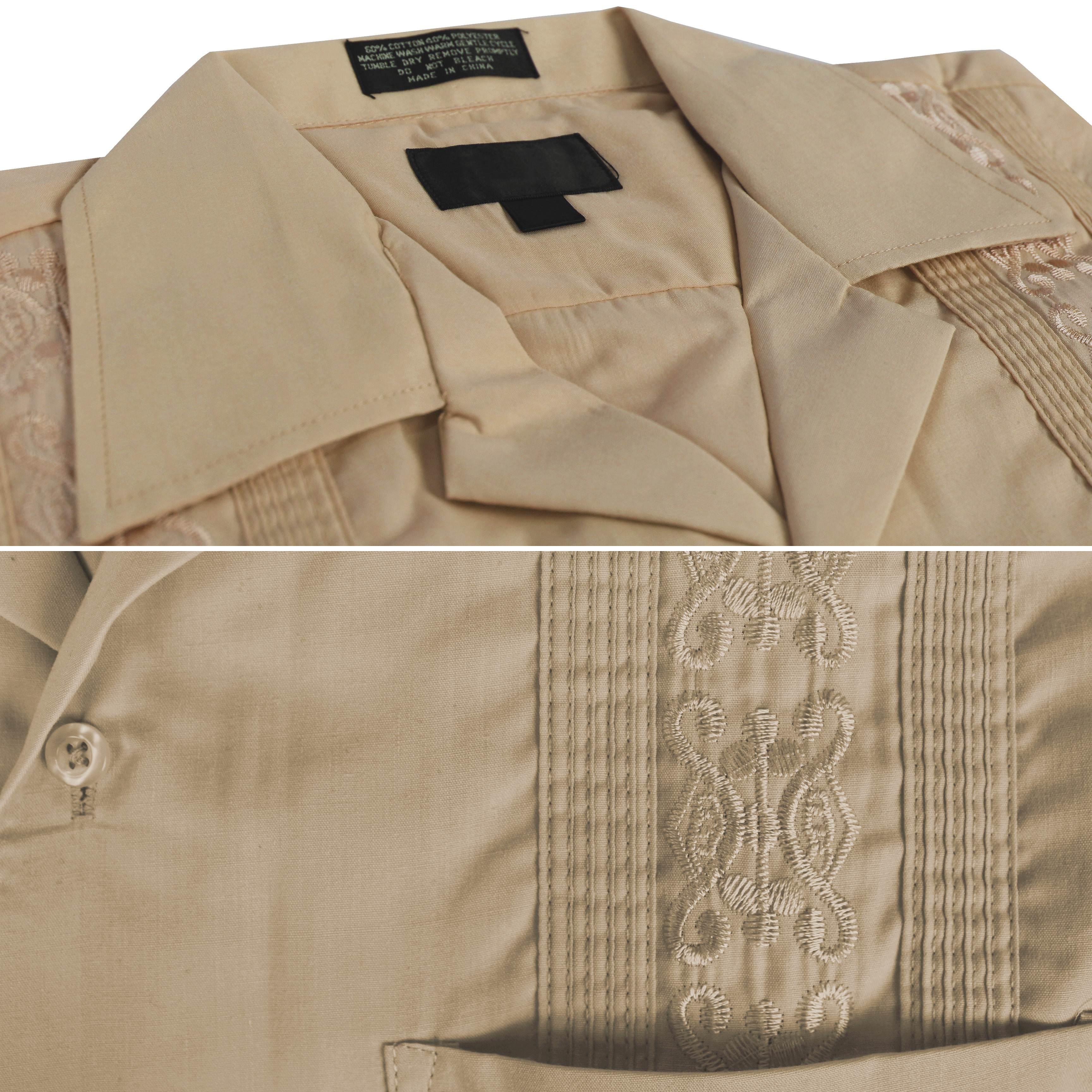 143b58aa11f vkwear Men s Guayabera Cuban Beach Wedding Casual Short Sleeve Dress ...