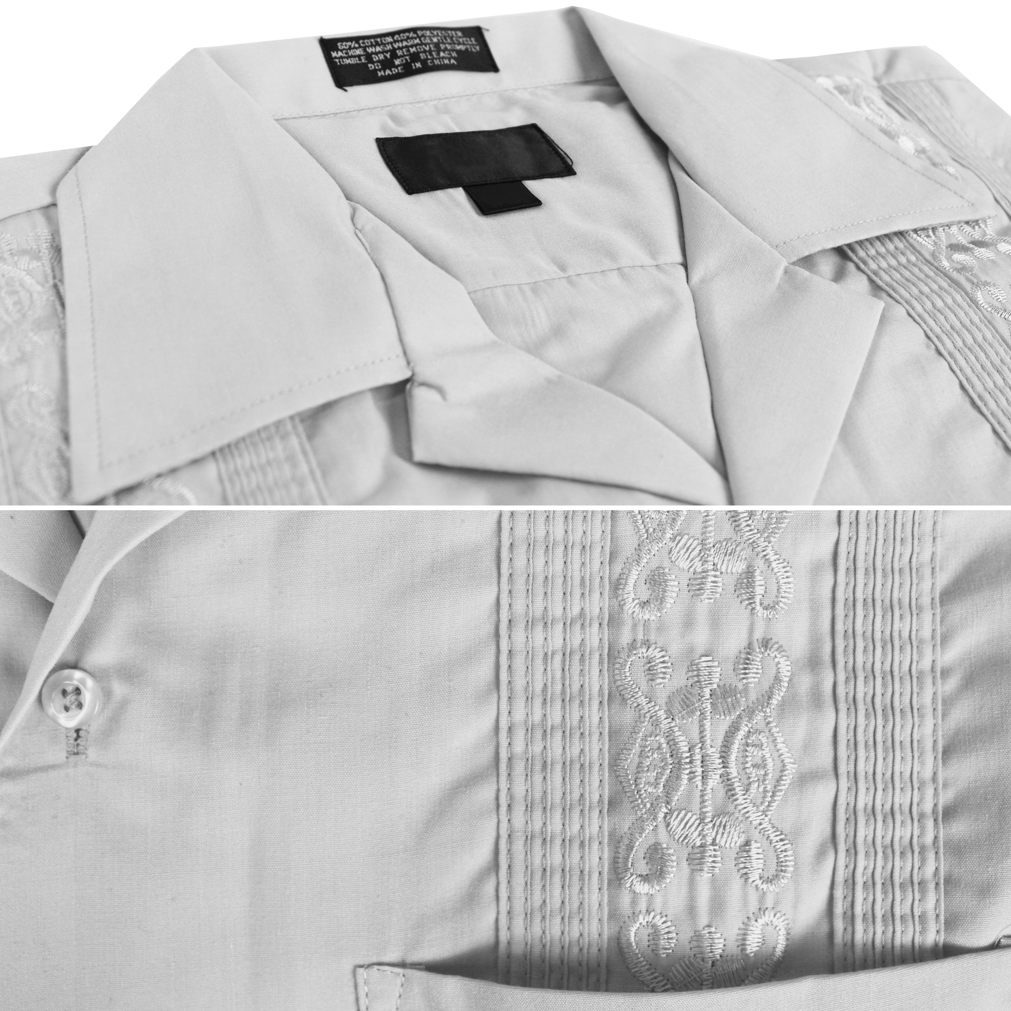 8bfac23948 vkwear Men s Guayabera Cuban Beach Wedding Casual Short Sleeve Dress ...