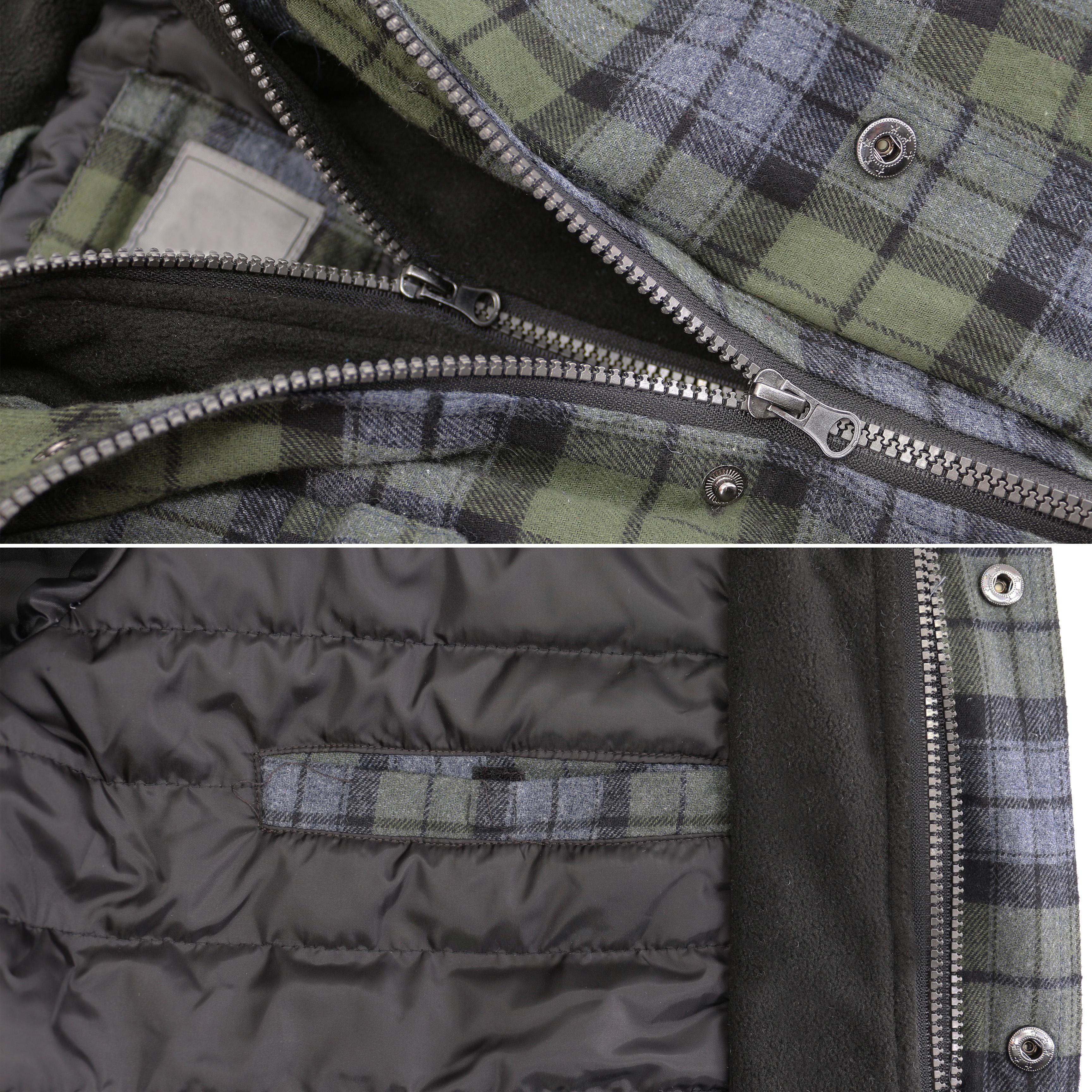 vkwear-Men-039-s-Quilted-Lined-Cotton-Plaid-Flannel-Layered-Zip-Up-Hoodie-Jacket thumbnail 8