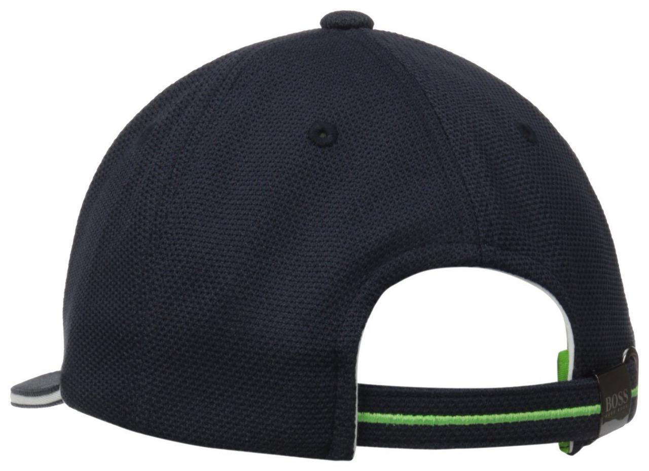 50b97d98f66 Authentic Hugo Boss Green Men Big Logo Pique Navy Trucker Hat Cap ...