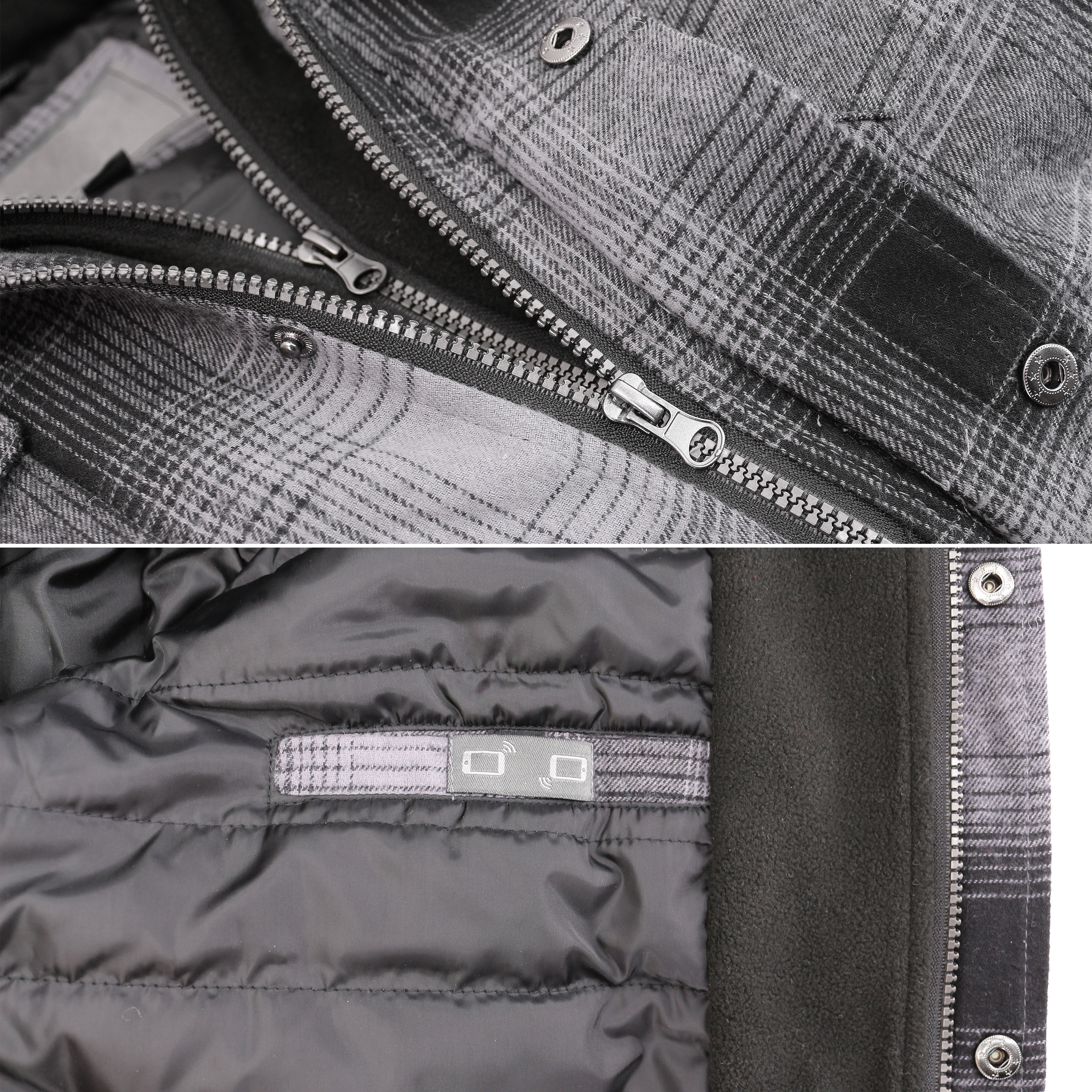 vkwear-Men-039-s-Quilted-Lined-Cotton-Plaid-Flannel-Layered-Zip-Up-Hoodie-Jacket thumbnail 11