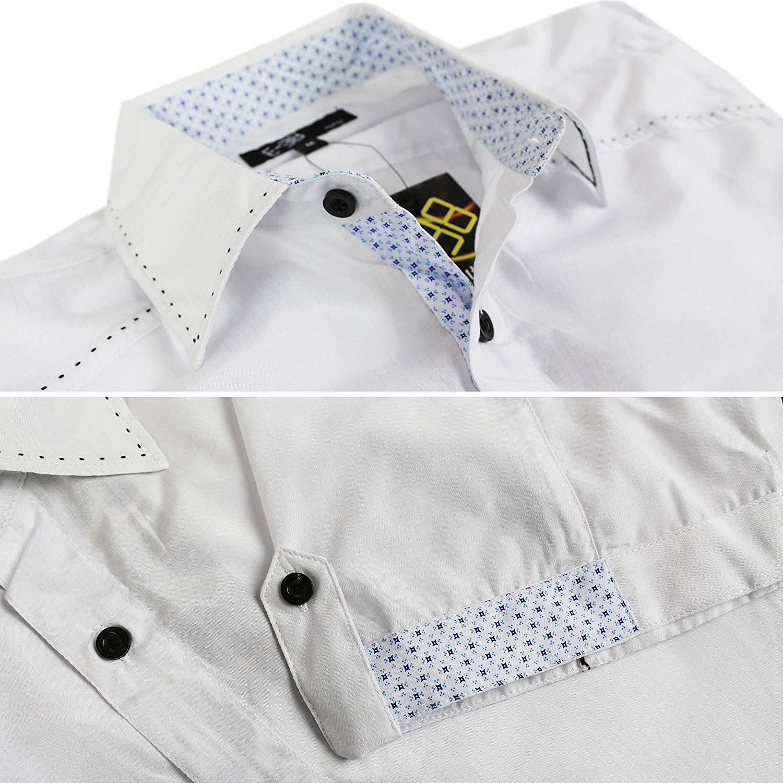 E-38-Italy-Men-039-s-Western-Button-Up-Short-Sleeve-Casual-Dress-Shirt-LY207 thumbnail 3