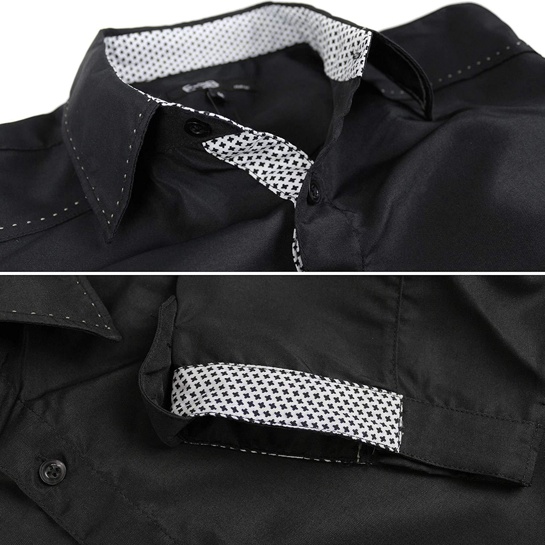 E-38-Italy-Men-039-s-Western-Button-Up-Short-Sleeve-Casual-Dress-Shirt-LY207 thumbnail 5