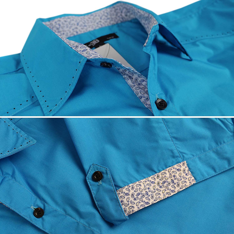 E-38-Italy-Men-039-s-Western-Button-Up-Short-Sleeve-Casual-Dress-Shirt-LY207 thumbnail 7