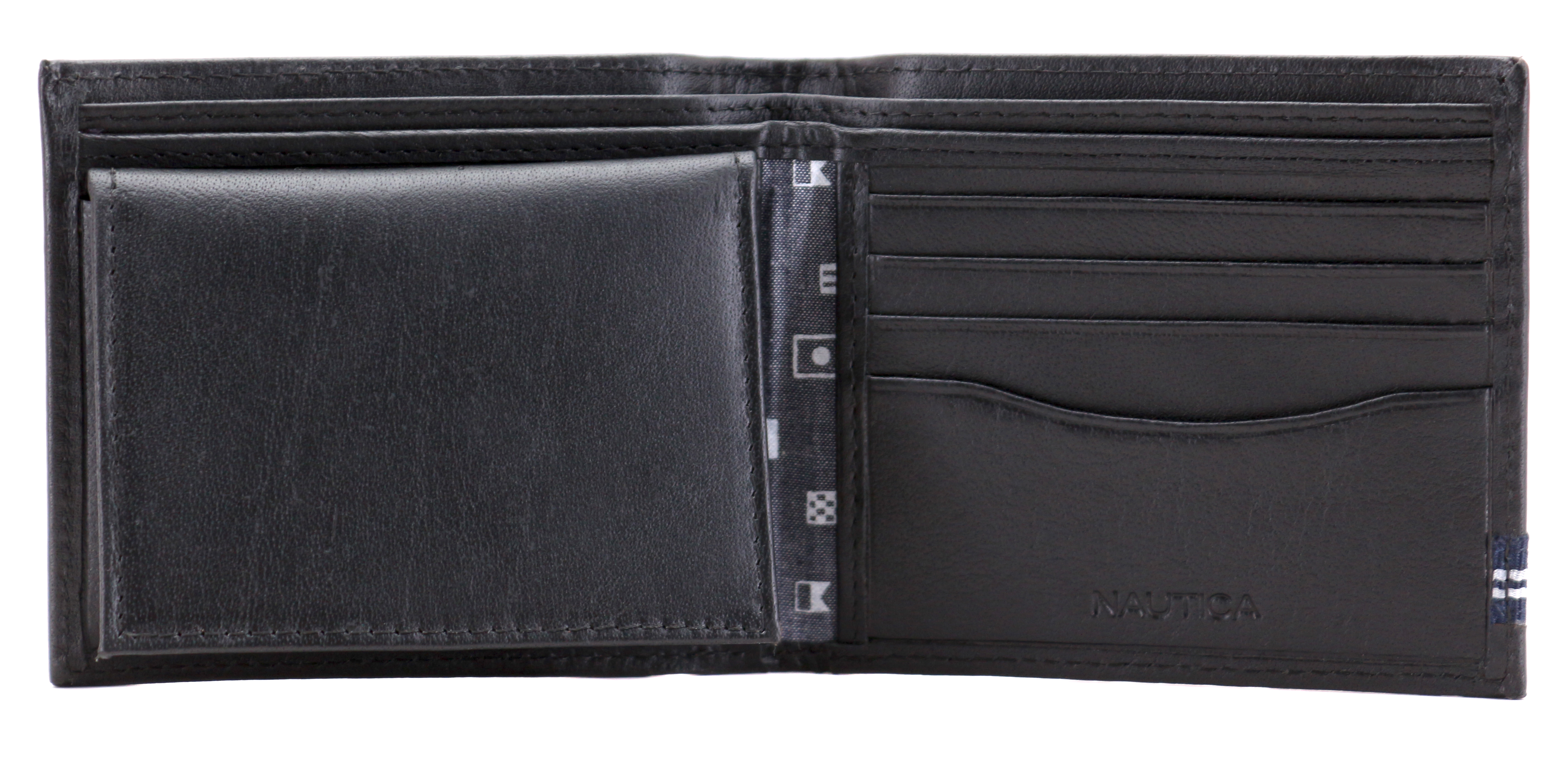 Nautica-Men-039-s-Genuine-Leather-Credit-Card-ID-Double-Billfold-Passcase-Wallet thumbnail 6