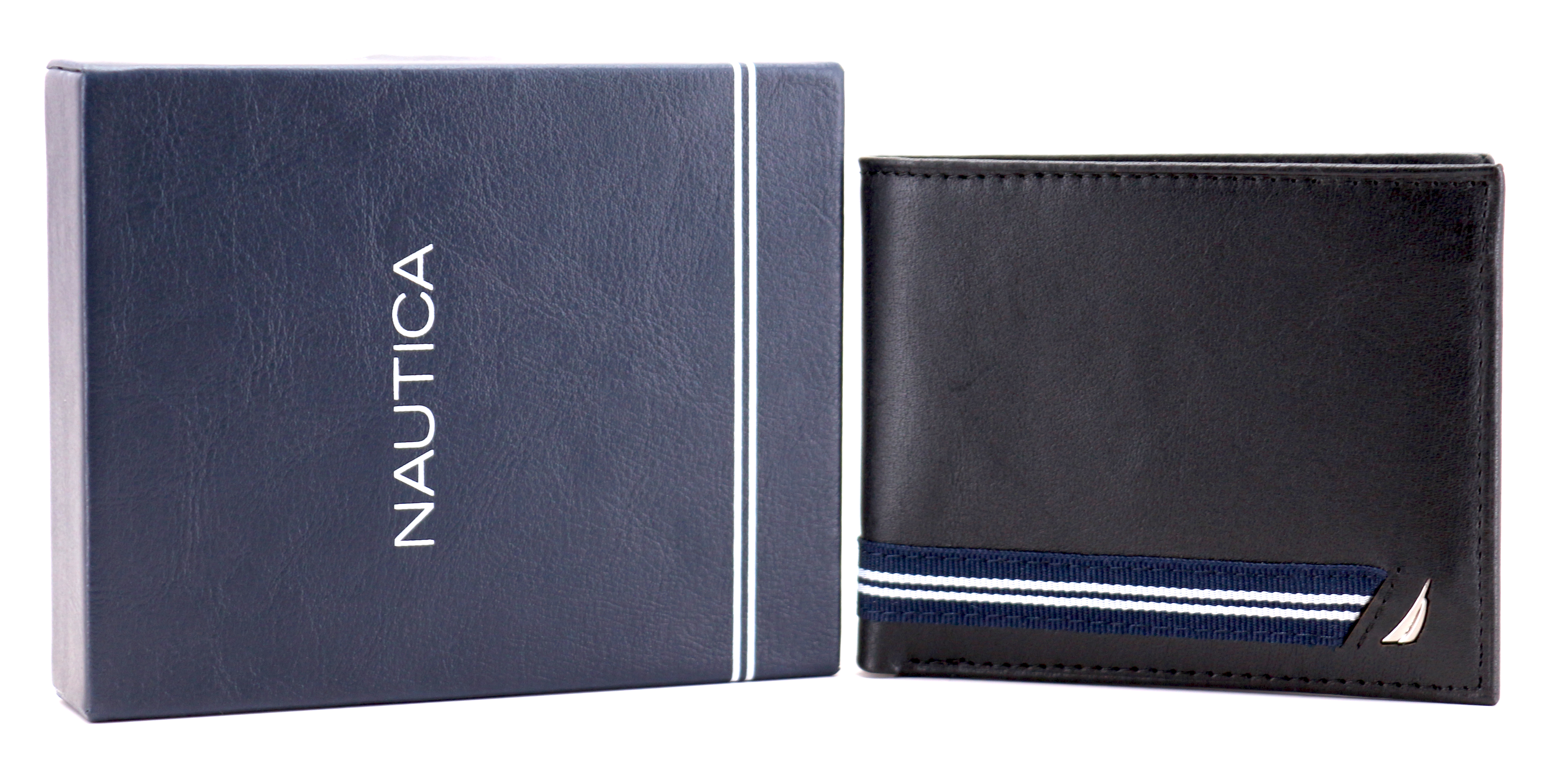 Nautica-Men-039-s-Genuine-Leather-Credit-Card-ID-Double-Billfold-Passcase-Wallet thumbnail 10