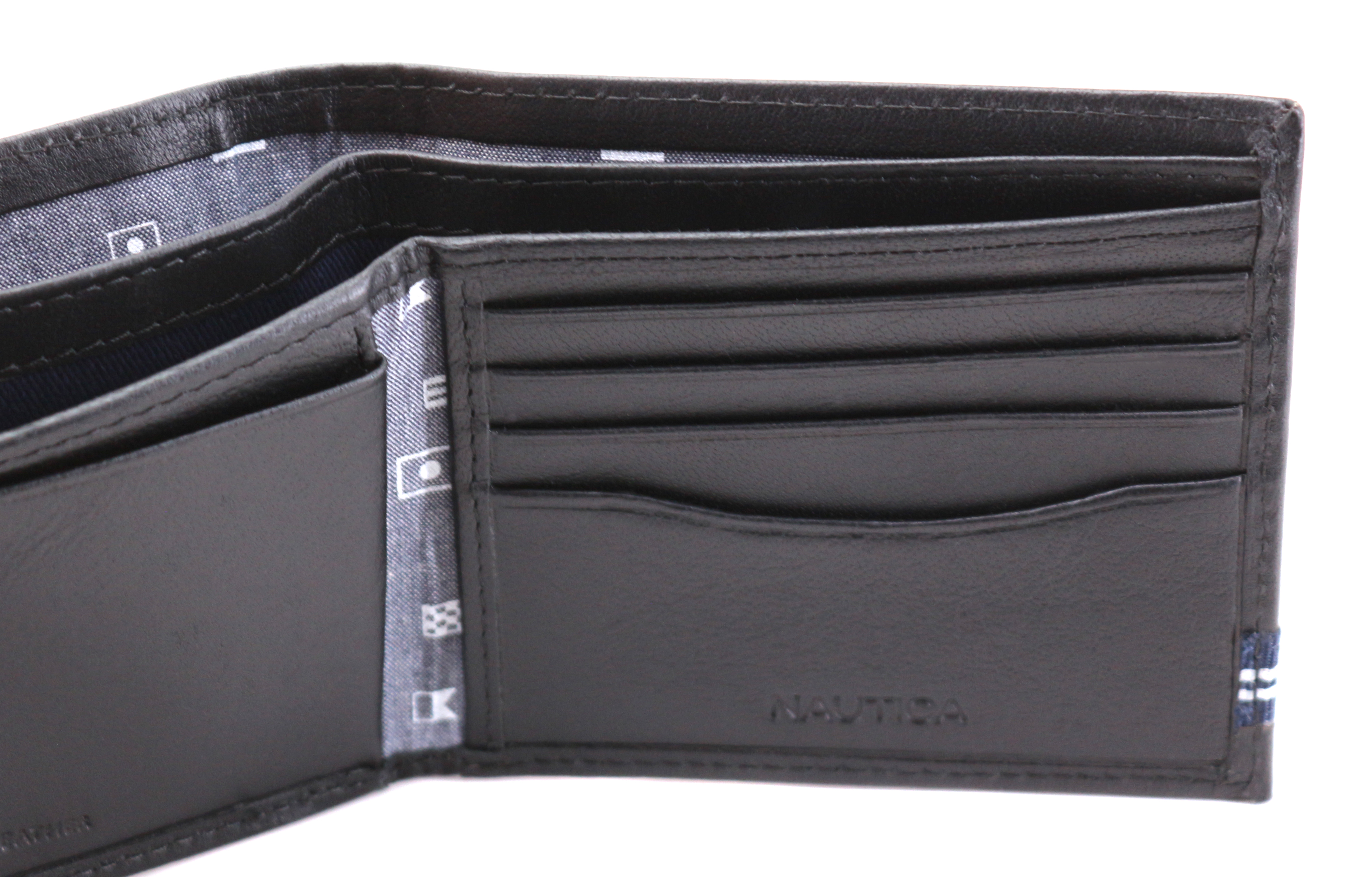 Nautica-Men-039-s-Genuine-Leather-Credit-Card-ID-Double-Billfold-Passcase-Wallet thumbnail 8