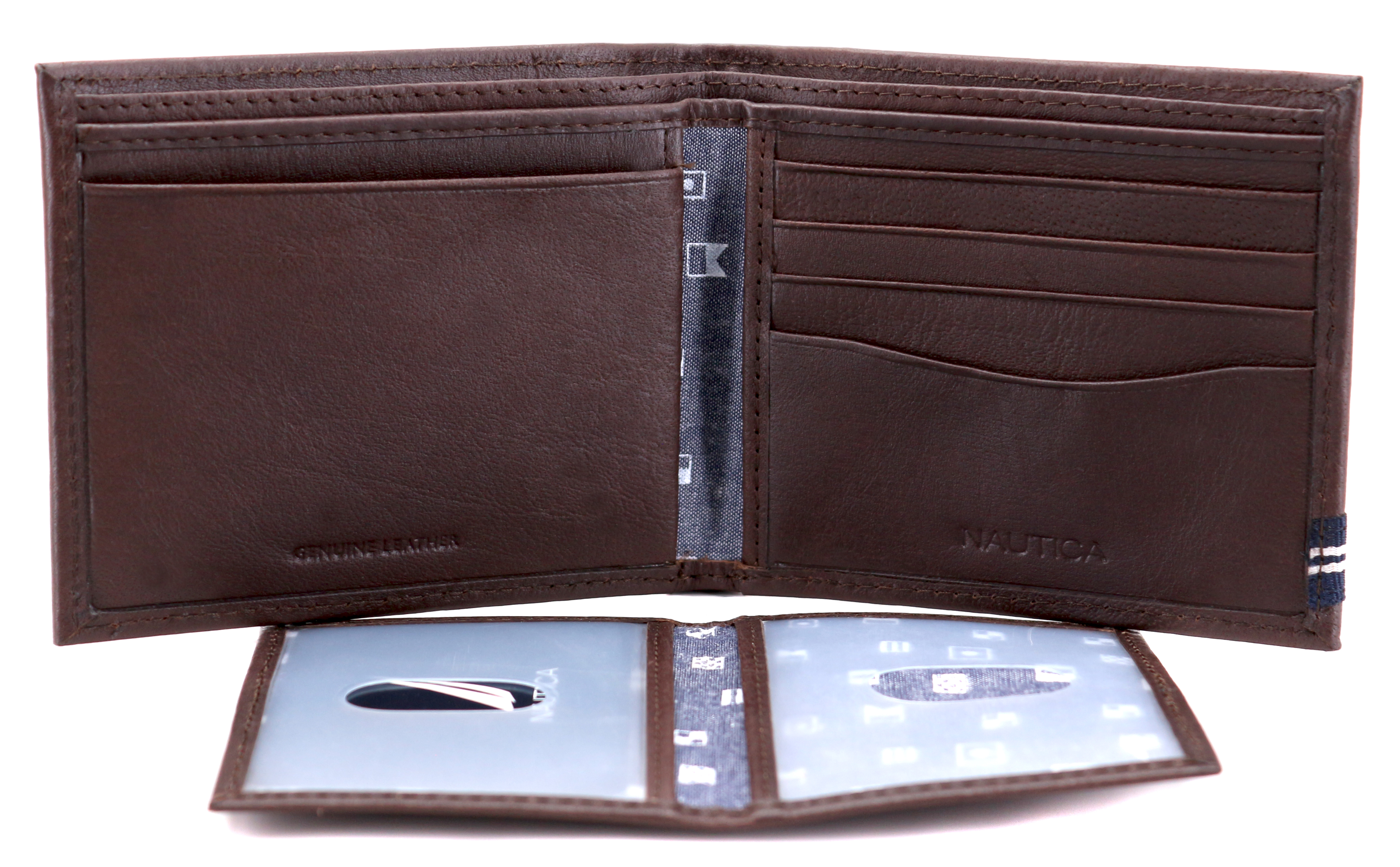 Nautica-Men-039-s-Genuine-Leather-Credit-Card-ID-Double-Billfold-Passcase-Wallet thumbnail 17