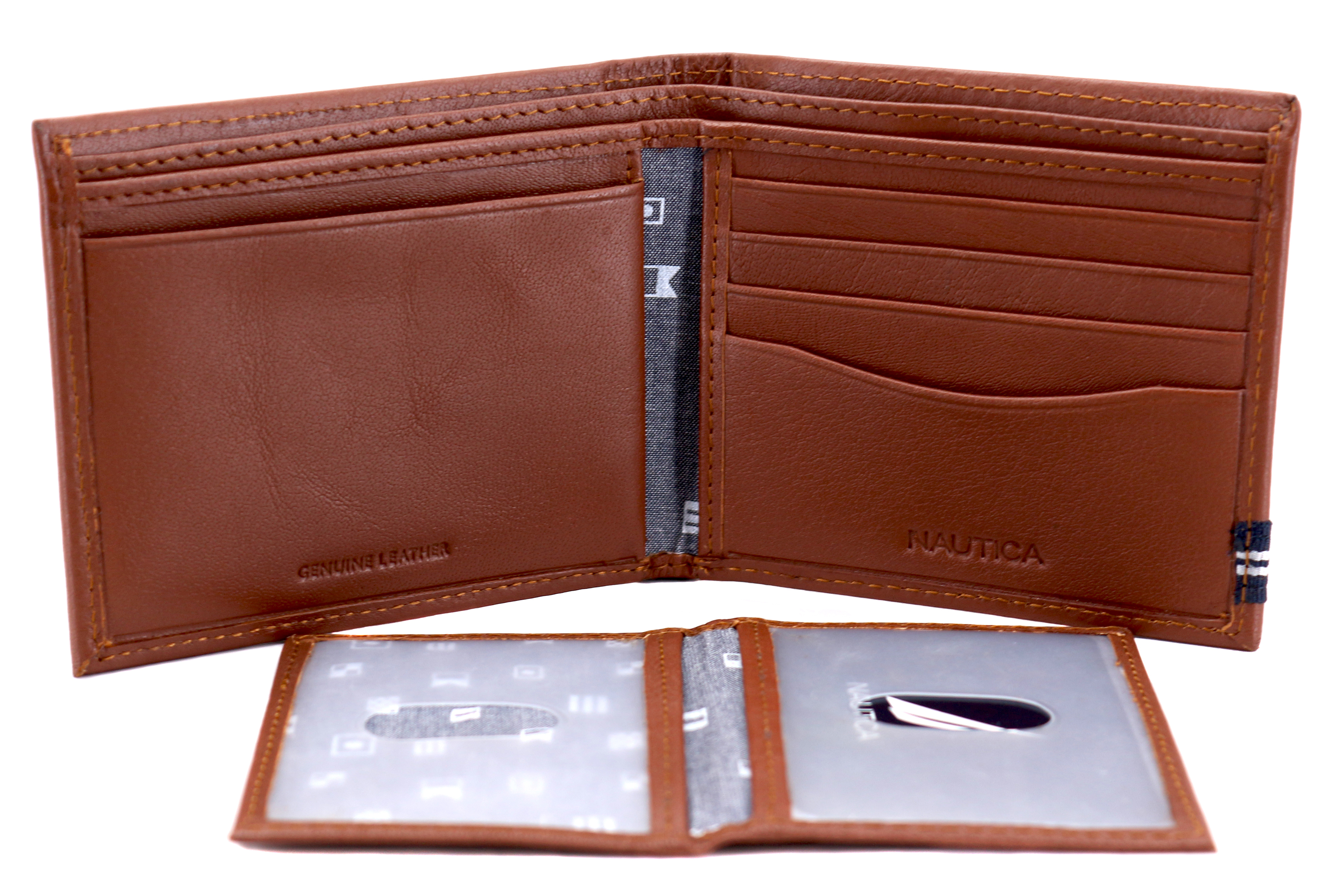 Nautica-Men-039-s-Genuine-Leather-Credit-Card-ID-Double-Billfold-Passcase-Wallet thumbnail 27