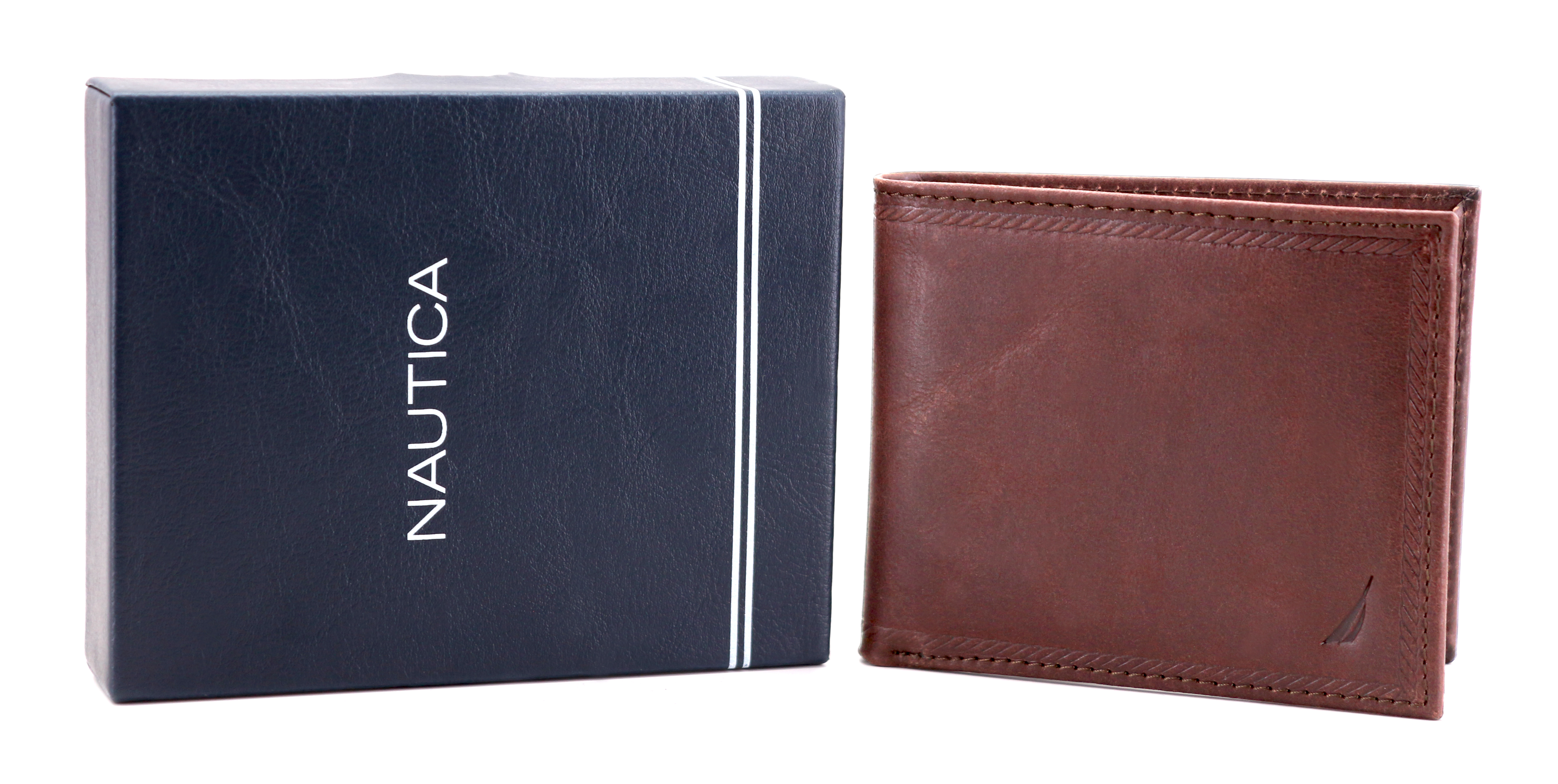 Nautica-Men-039-s-Genuine-Vintage-Leather-Credit-Card-ID-Billfold-Passcase-Wallet thumbnail 16