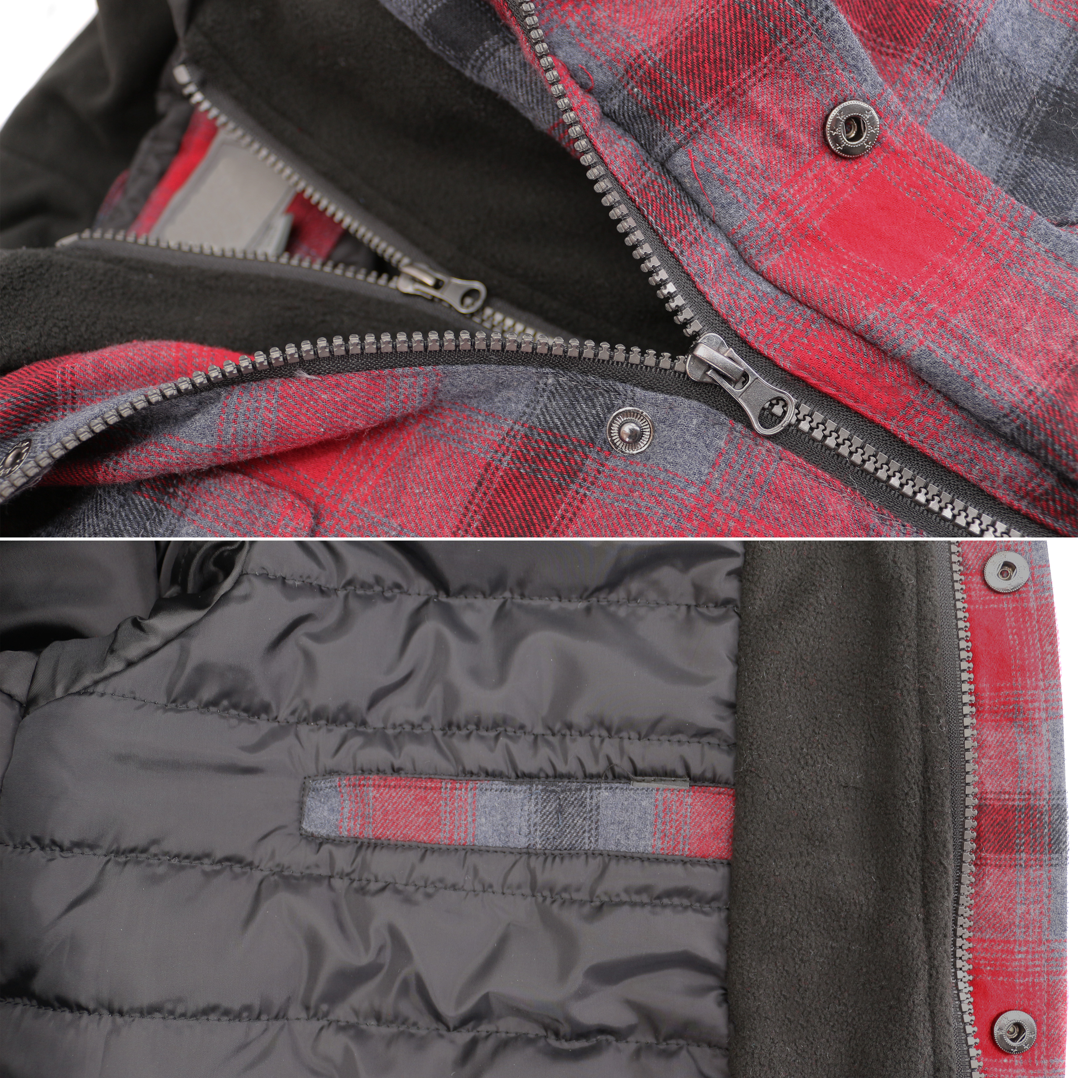 vkwear-Men-039-s-Quilted-Lined-Cotton-Plaid-Flannel-Layered-Zip-Up-Hoodie-Jacket thumbnail 14