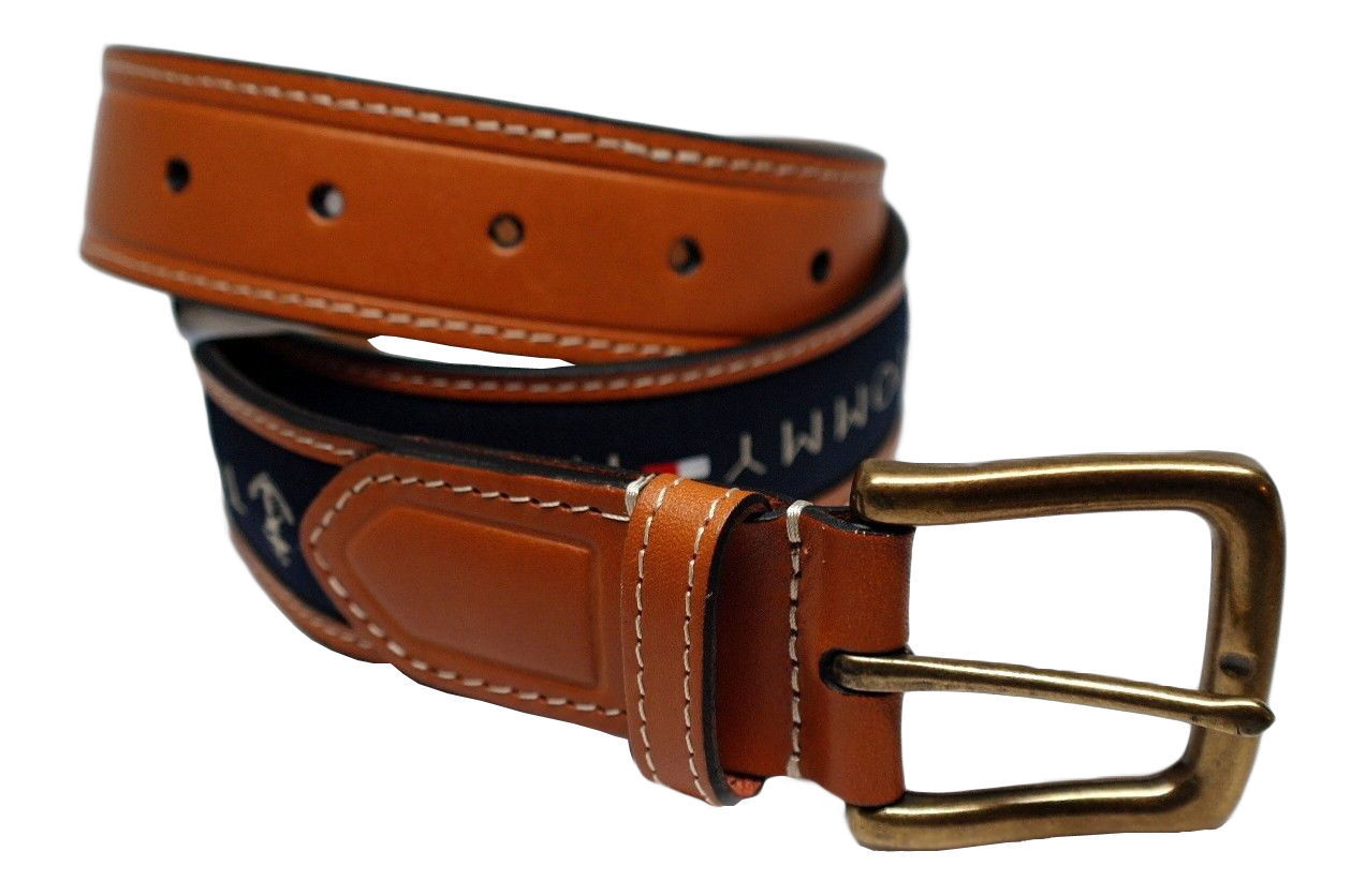 Tommy-Hilfiger-Men-039-s-Premium-Ribbon-Inlay-Anchor-Logo-Leather-Belt-11TL02X032 miniature 12