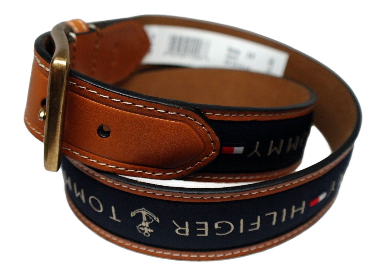 Tommy-Hilfiger-Men-039-s-Premium-Ribbon-Inlay-Anchor-Logo-Leather-Belt-11TL02X032 miniature 10