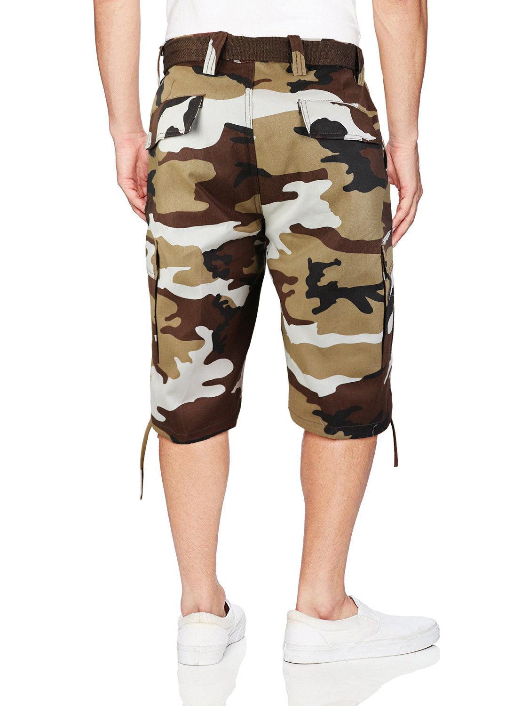 Camo Camouflage Shorts Tactische voor Fit met heren Cargo Slim riem Militaire R5CqS