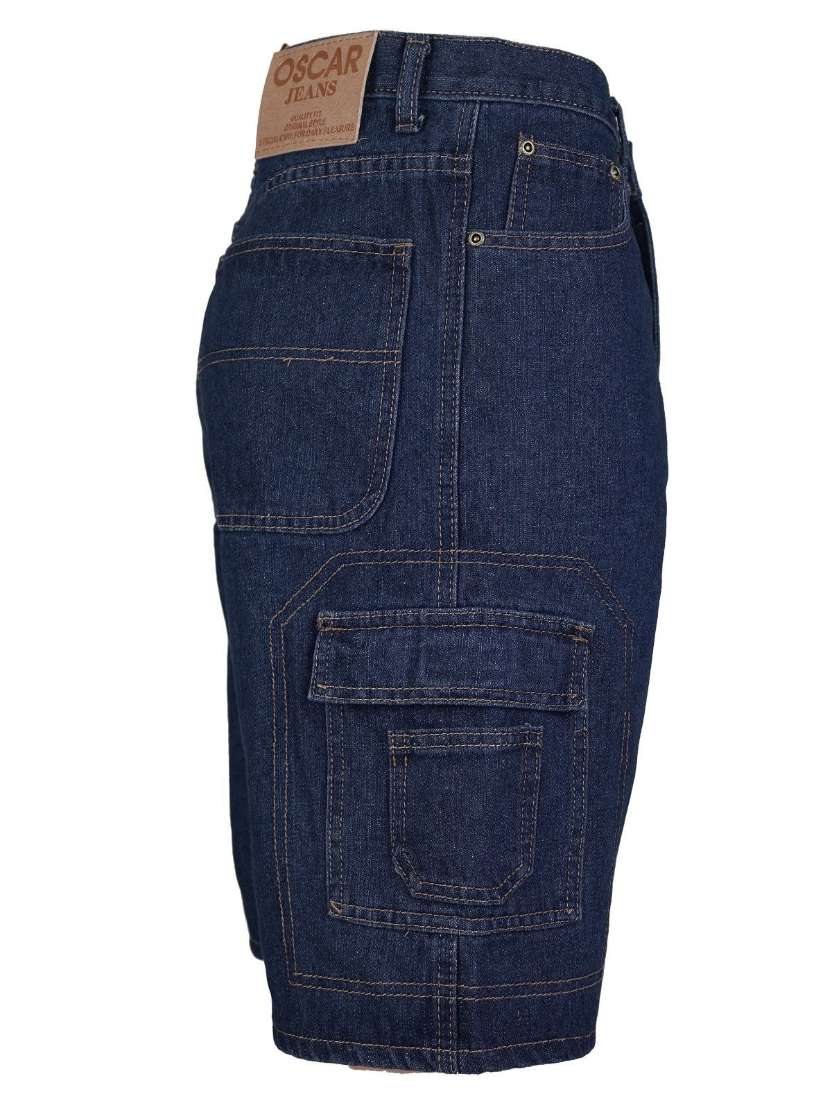 Men-039-s-Premium-Cotton-Multi-Pocket-Relaxed-Fit-Stonewash-Denim-Jean-Cargo-Shorts thumbnail 5