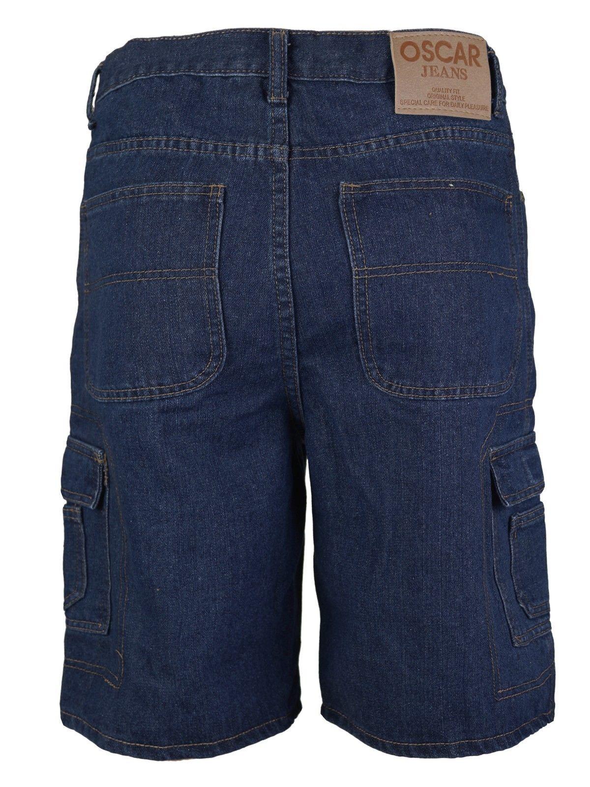 Men-039-s-Premium-Cotton-Multi-Pocket-Relaxed-Fit-Stonewash-Denim-Jean-Cargo-Shorts thumbnail 6