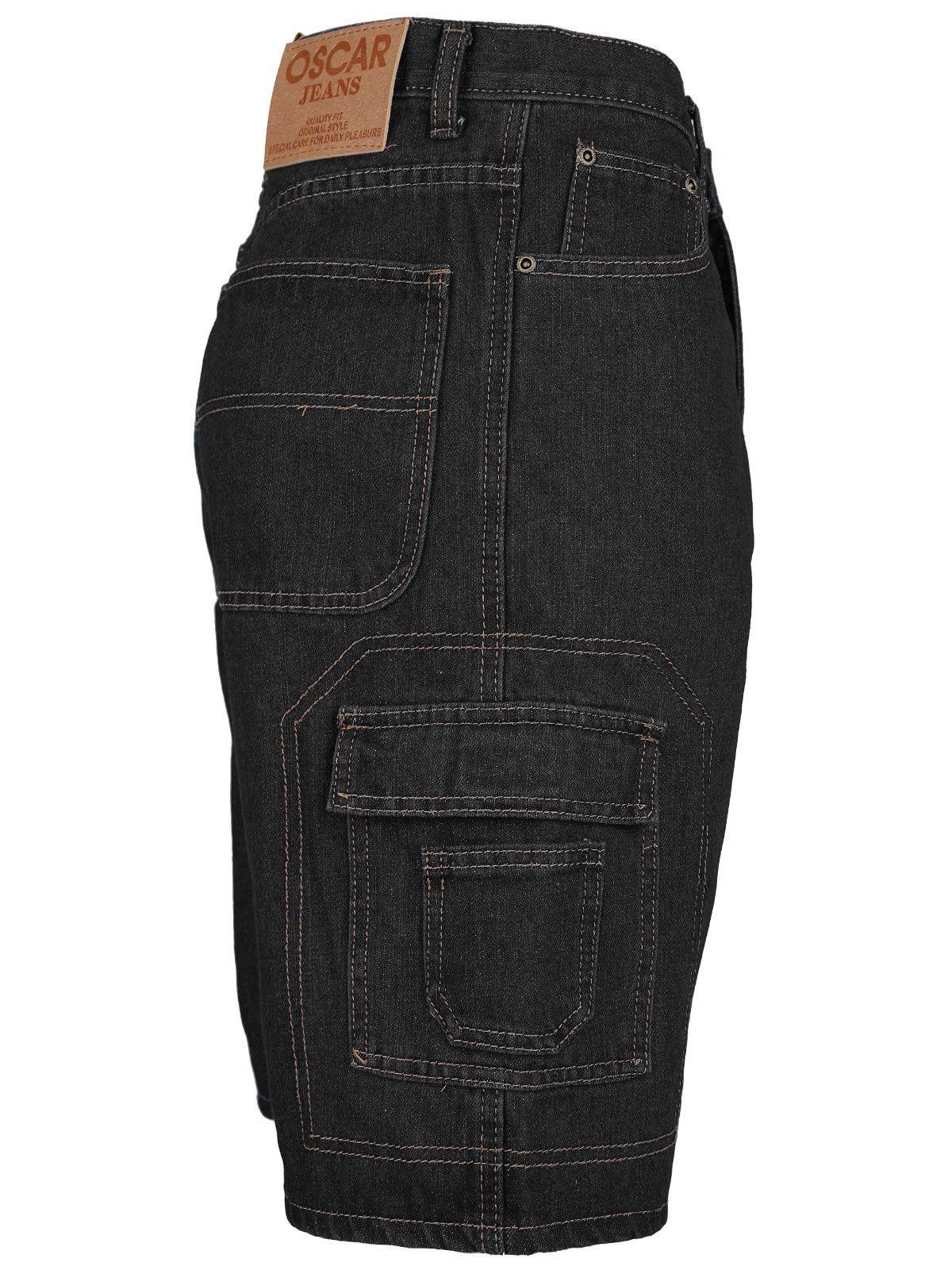 Men-039-s-Premium-Cotton-Multi-Pocket-Relaxed-Fit-Stonewash-Denim-Jean-Cargo-Shorts thumbnail 9