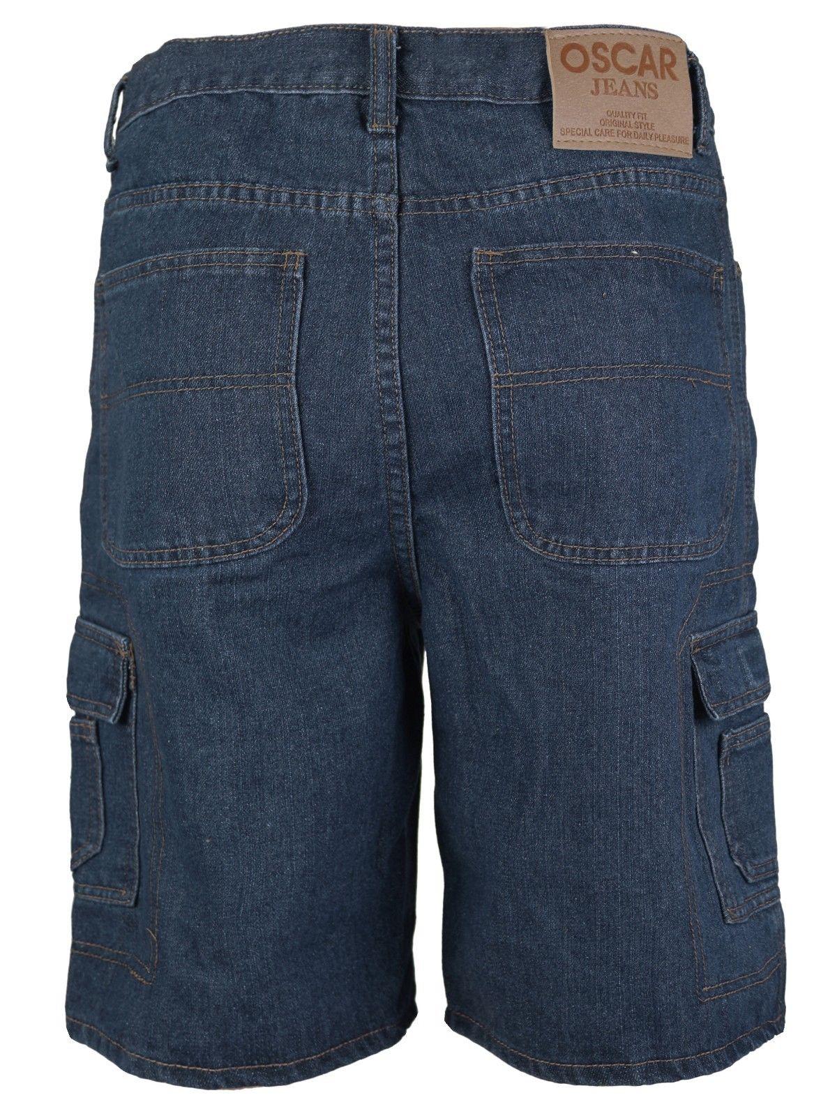 Men-039-s-Premium-Cotton-Multi-Pocket-Relaxed-Fit-Stonewash-Denim-Jean-Cargo-Shorts thumbnail 14