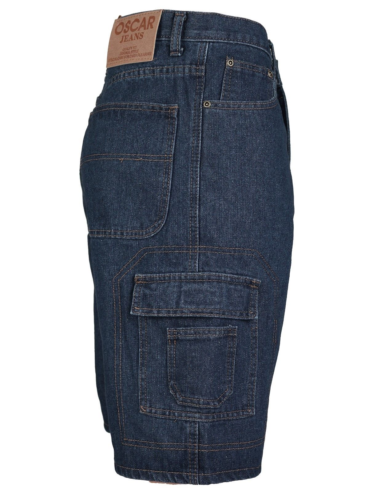 Men-039-s-Premium-Cotton-Multi-Pocket-Relaxed-Fit-Stonewash-Denim-Jean-Cargo-Shorts thumbnail 13