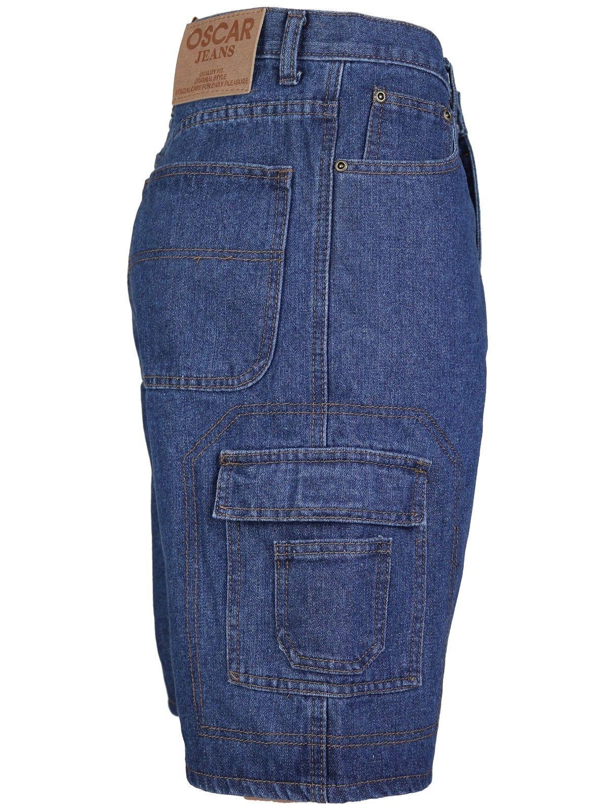 Men-039-s-Premium-Cotton-Multi-Pocket-Relaxed-Fit-Stonewash-Denim-Jean-Cargo-Shorts thumbnail 17