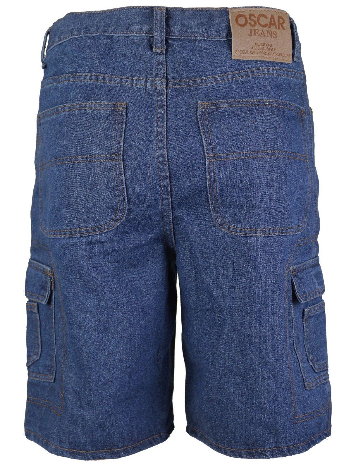 Men-039-s-Premium-Cotton-Multi-Pocket-Relaxed-Fit-Stonewash-Denim-Jean-Cargo-Shorts thumbnail 18