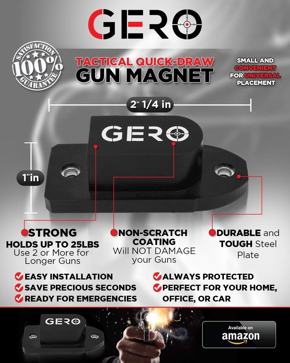 thumbnail 21 - GERO Tactical Quick Draw Gun Magnet Concealed Rifle & Shotgun Magnetic Holder