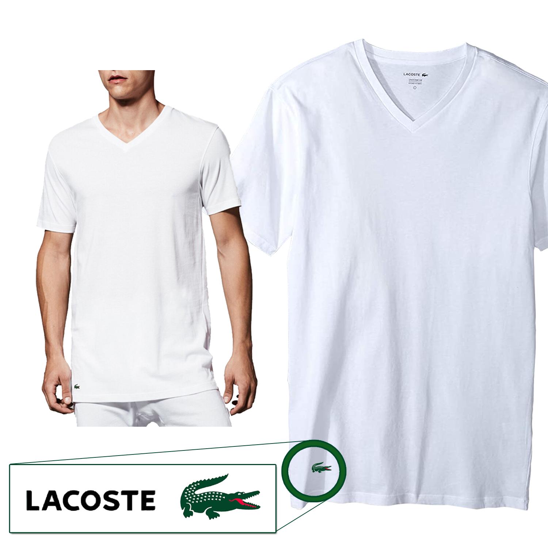 Lacoste Men's Cotton Stretch Slim Fit V-Neck T-Shirt Classic ...
