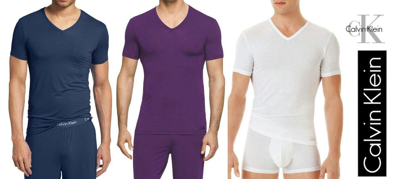 Men's Details Micro About Klein Sleeve Neck U5563 Shirt Short V Ck T Calvin L Modal TF1JlcK