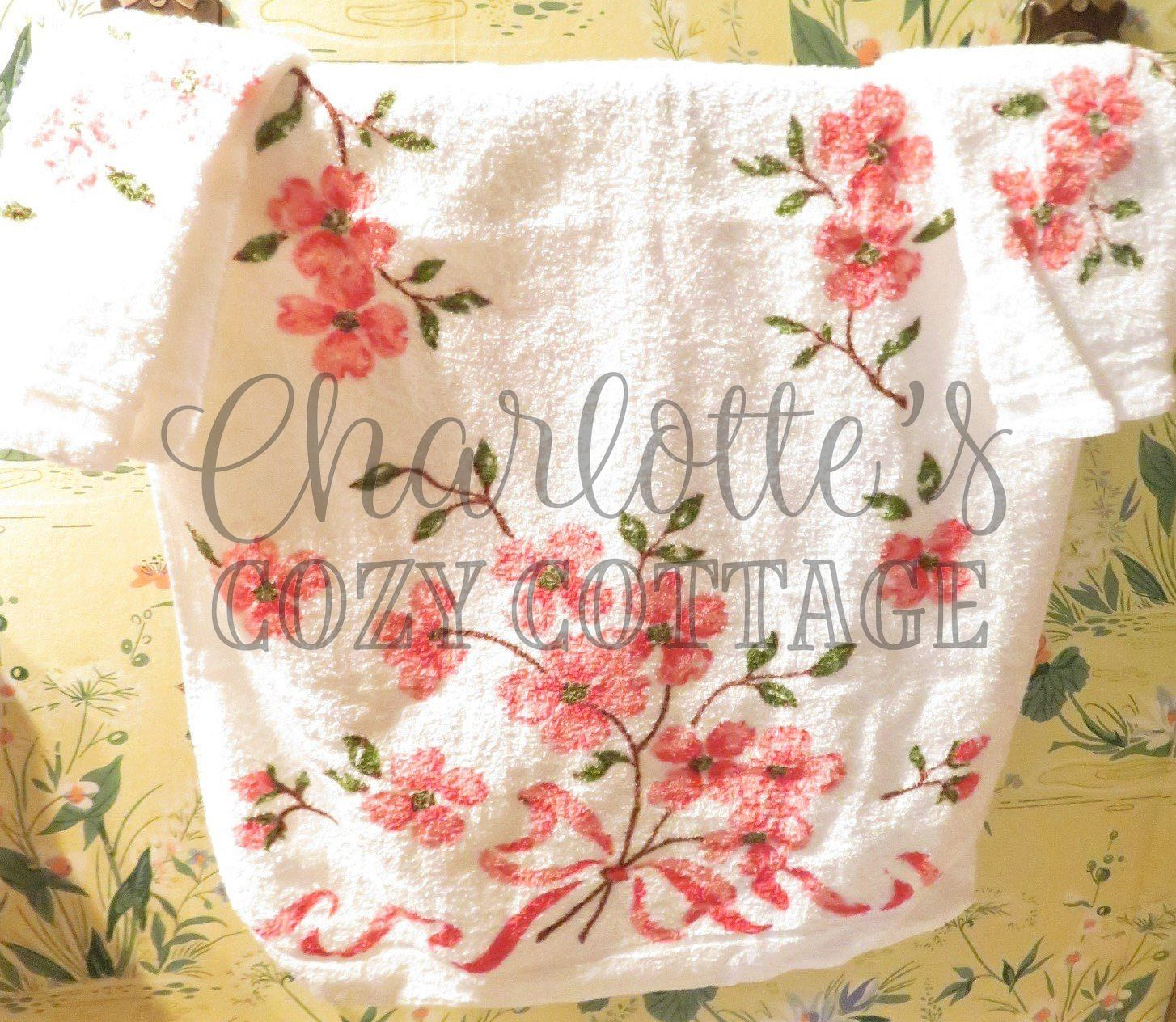 Who Sells Cannon Bath Towels: Vintage Cannon Cottage Pink Apple Blossoms Terry Bath